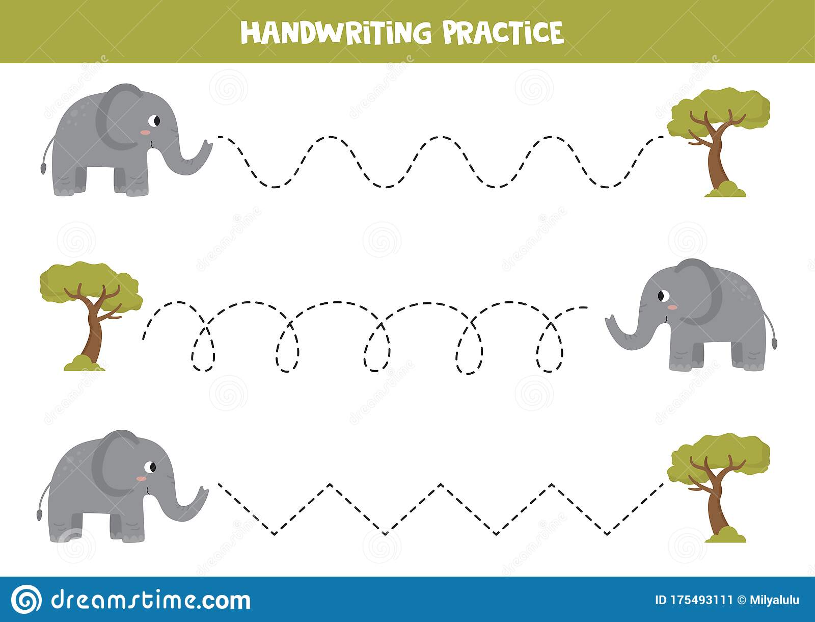 Tracing Lines For Kids Cute Gray Elephant And Safari Tree