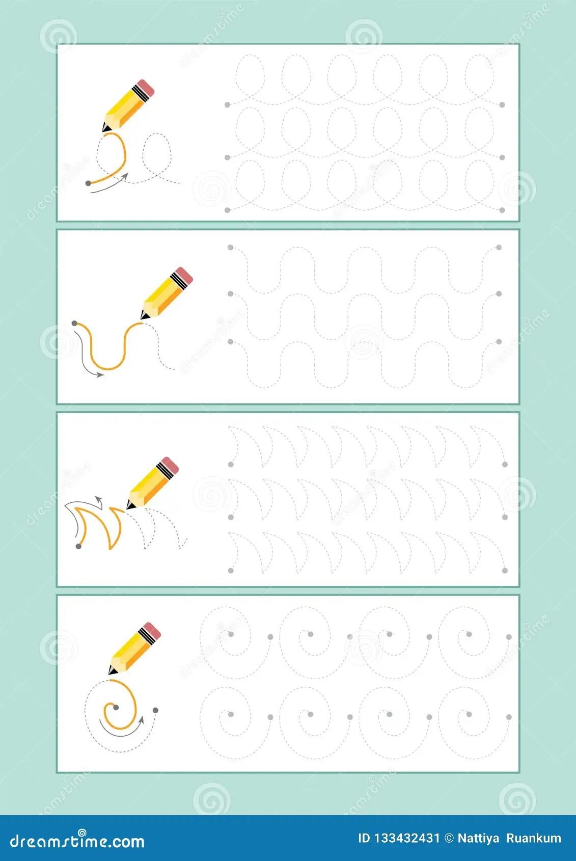 Tracing Lines Vector For Preschool Or Kindergarten And