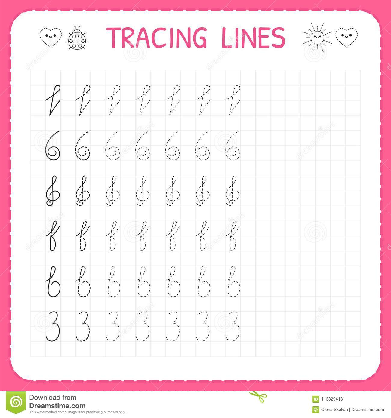 Tracing Lines Worksheet For Kids Trace The Pattern Basic Writing Preschool Or Kindergarten