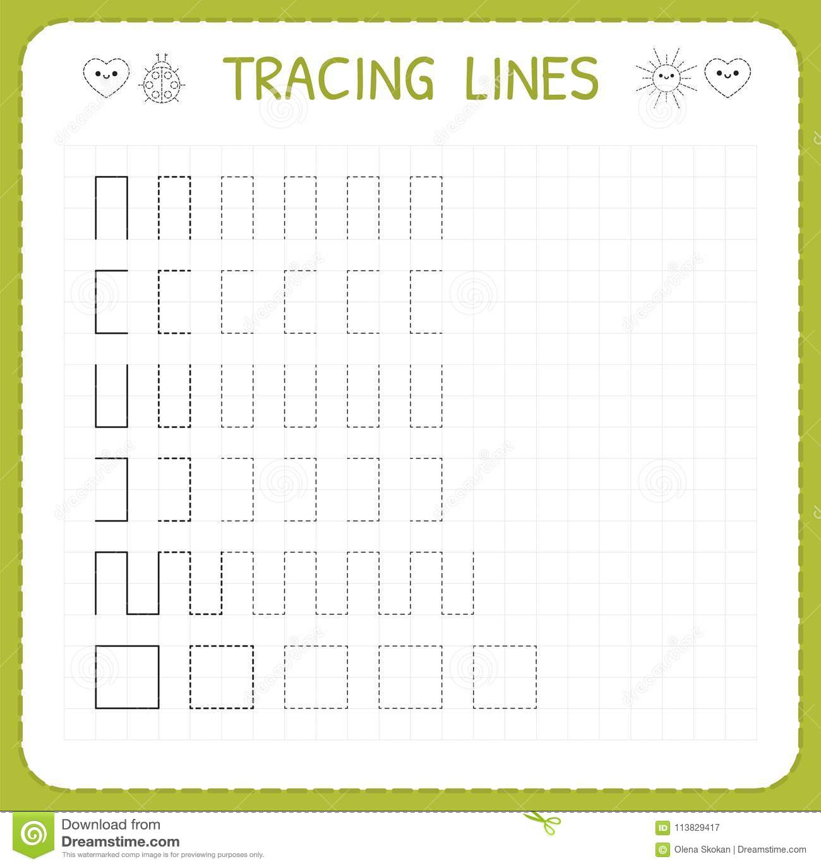 Tracing Lines Worksheet For Kids Working Pages For Children Preschool Or Kindergarten