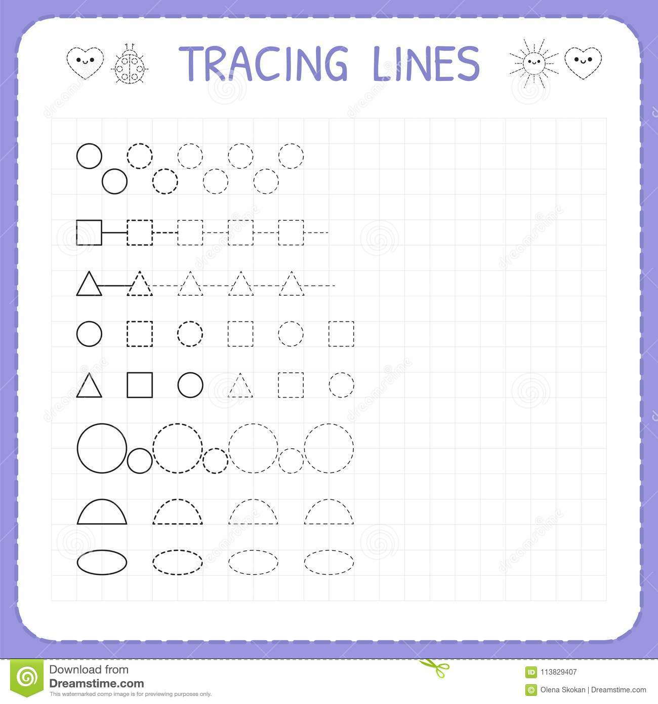 Tracing Lines Worksheet For Kids Working Pages For Children Trace The Pattern Basic Writing
