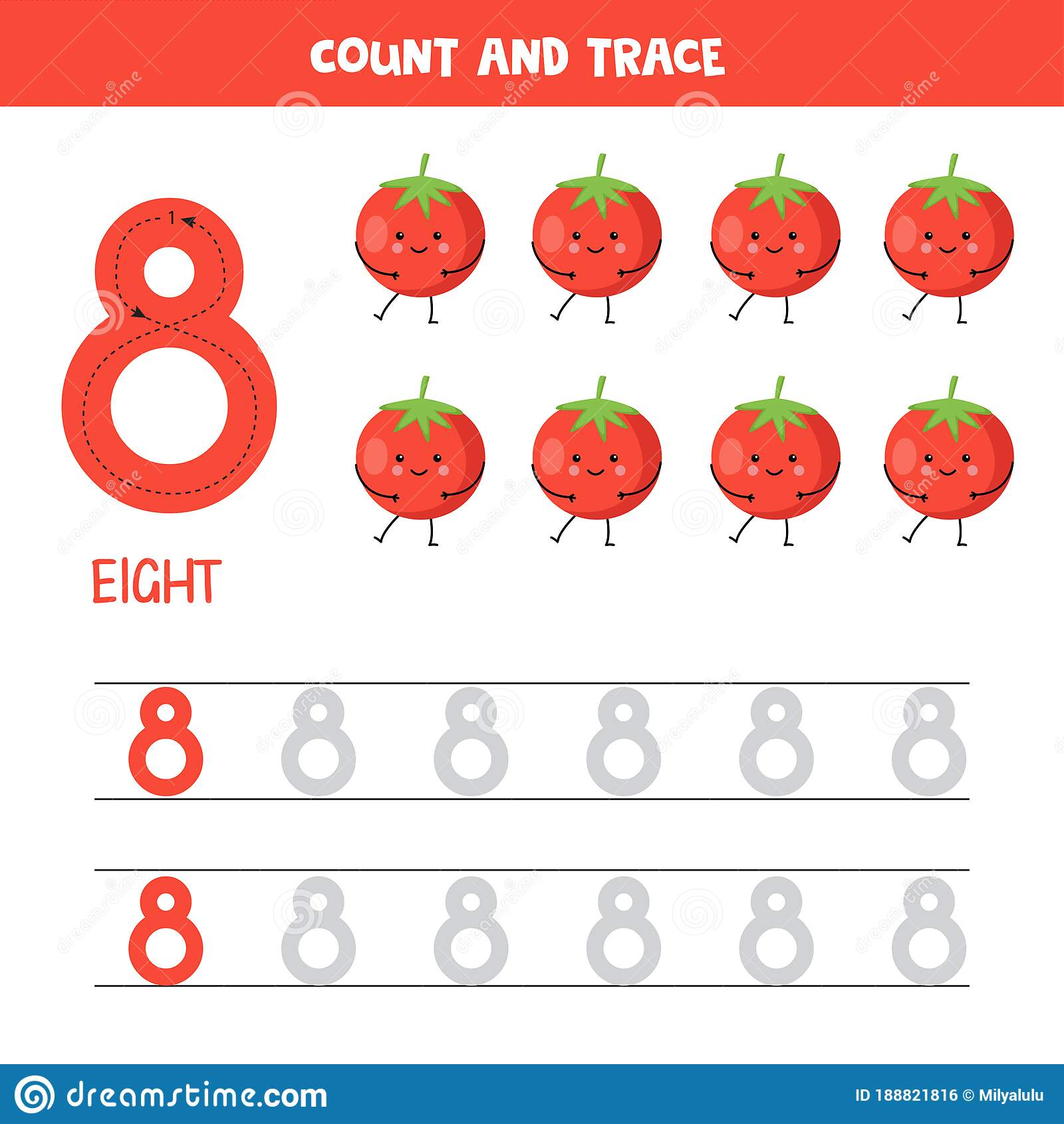 Tracing Numbers Worksheet Number Eight With Cute Kawaii