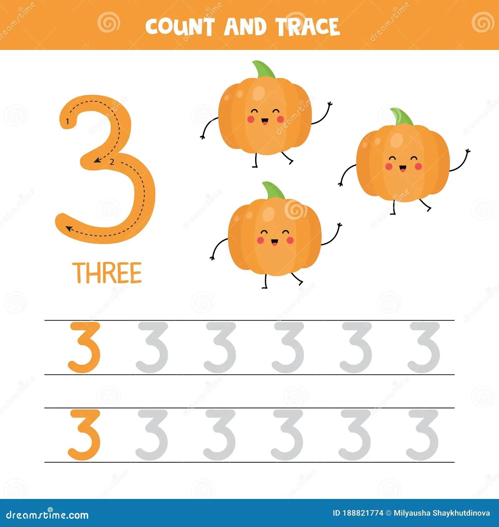 Tracing Numbers Worksheet Number Three With Cute Kawaii
