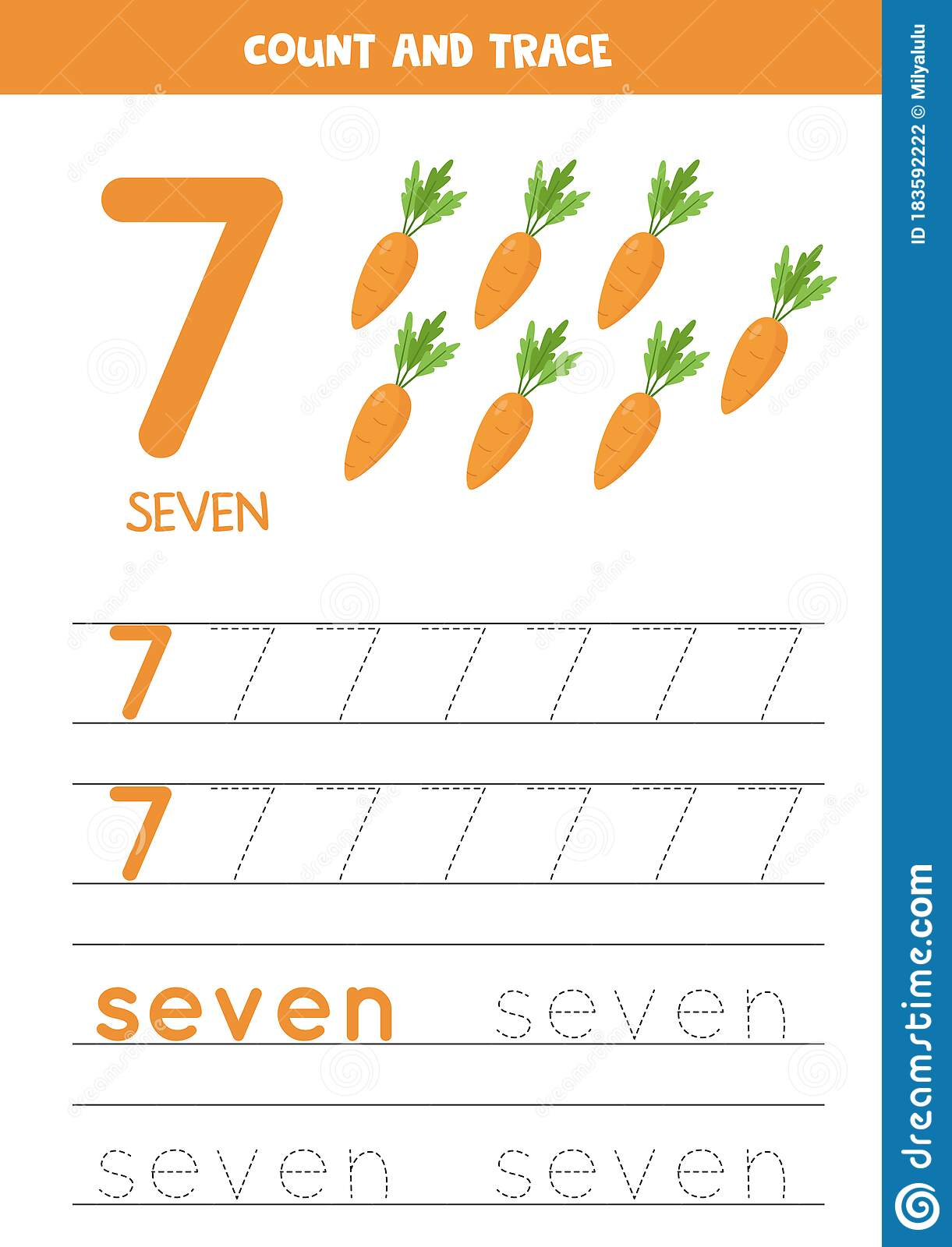 Tracing The Word Seven And The Number 7 Cartoon Carrots
