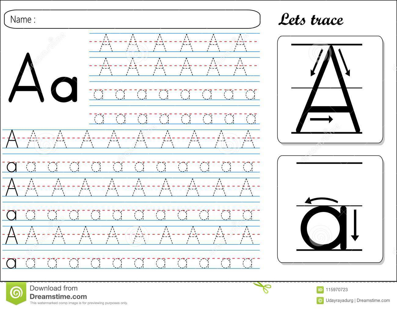 Tracing Worksheet Aa Stock Vector Illustration Of Sheet