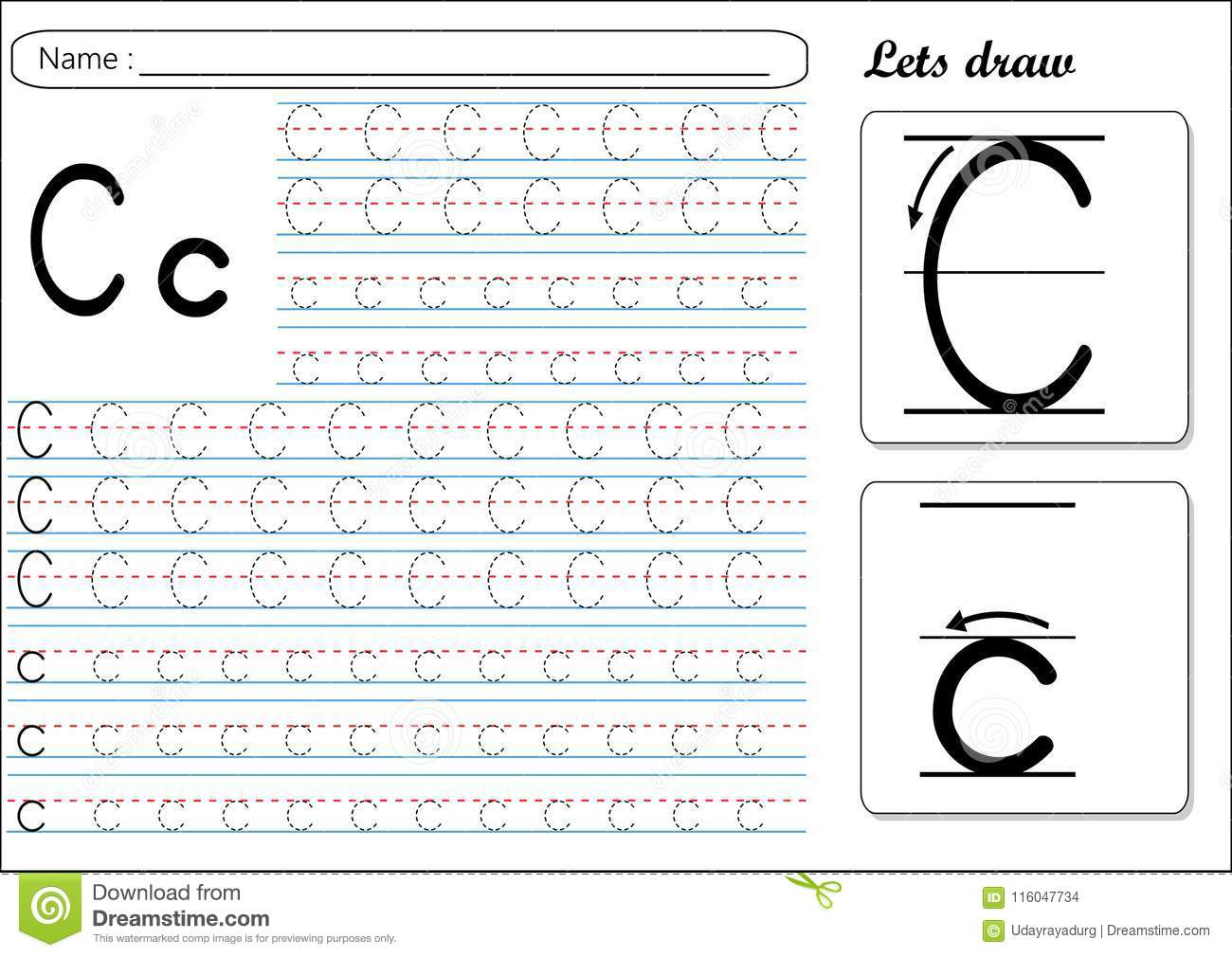 Tracing Worksheet Cc Stock Vector Illustration Of