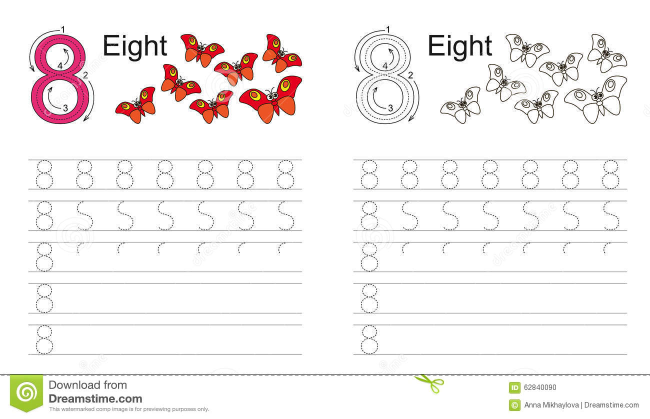 Tracing Worksheet For Figure Eight Stock Vector
