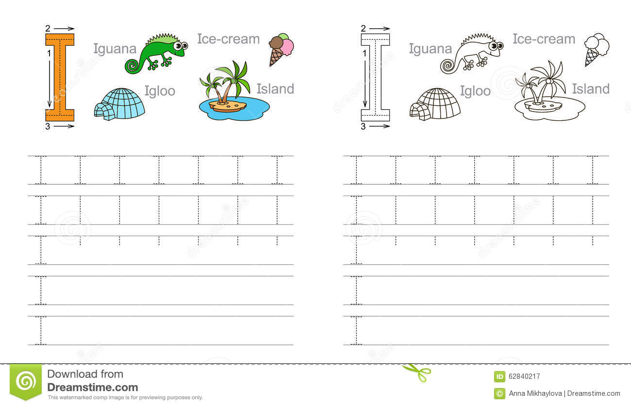 Tracing Worksheet For Letter I Stock Vector