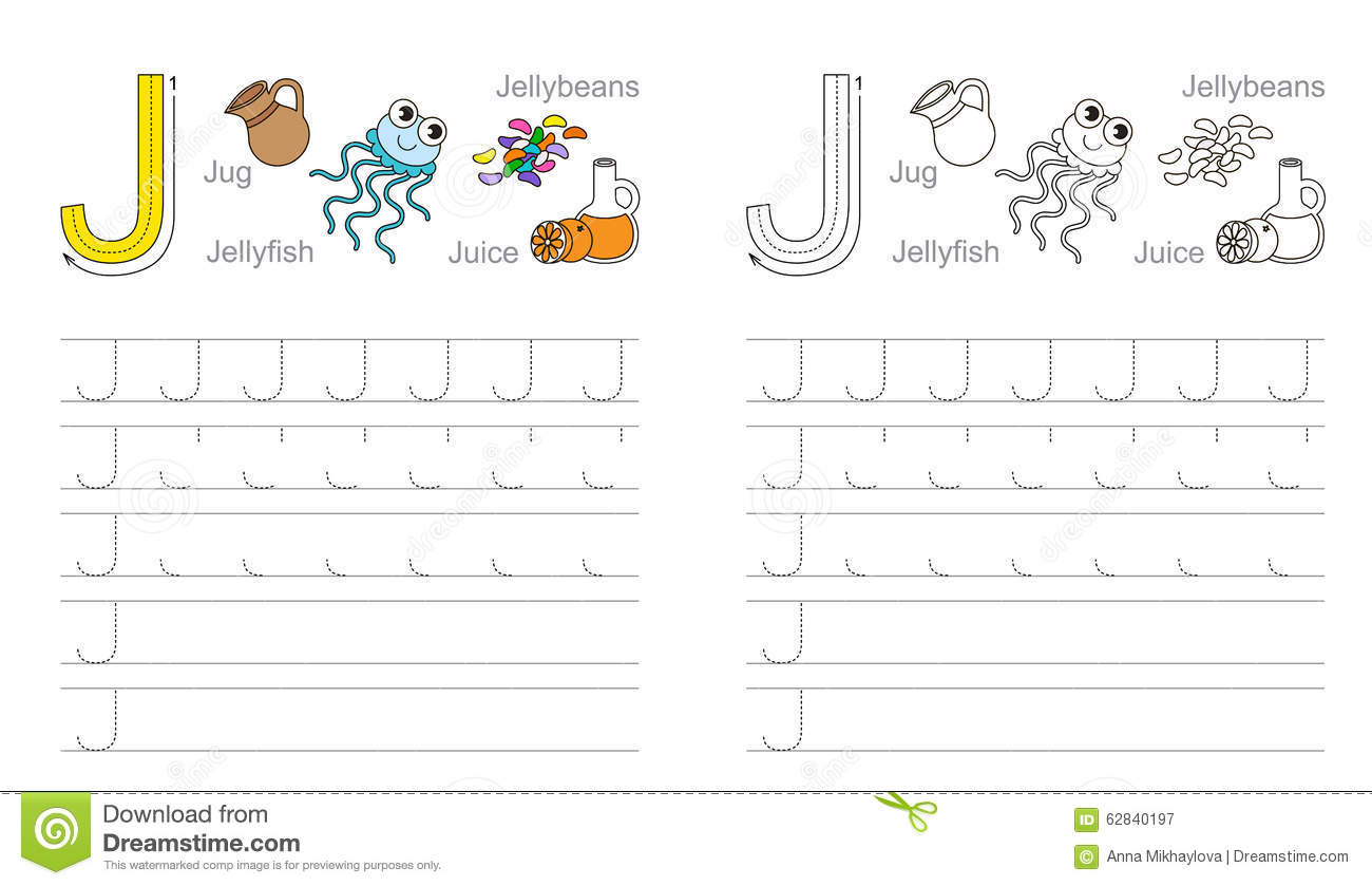Tracing Worksheet For Letter J Stock Vector