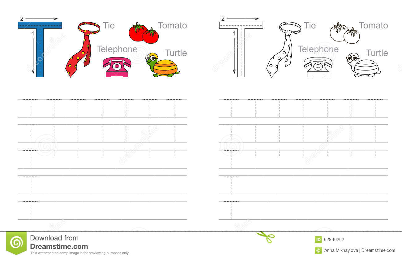 Tracing Worksheet For Letter T Stock Vector