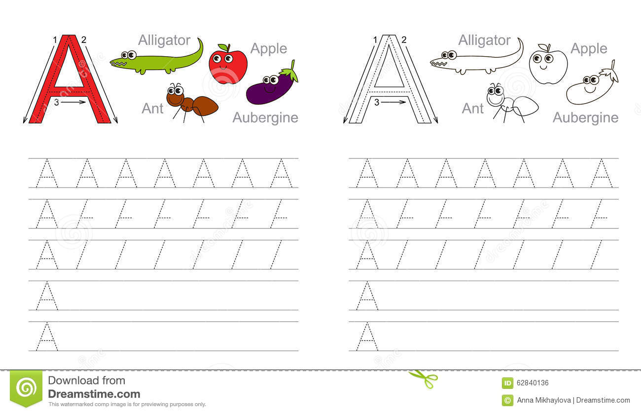 Tracing Worksheet For Letter A Stock Vector