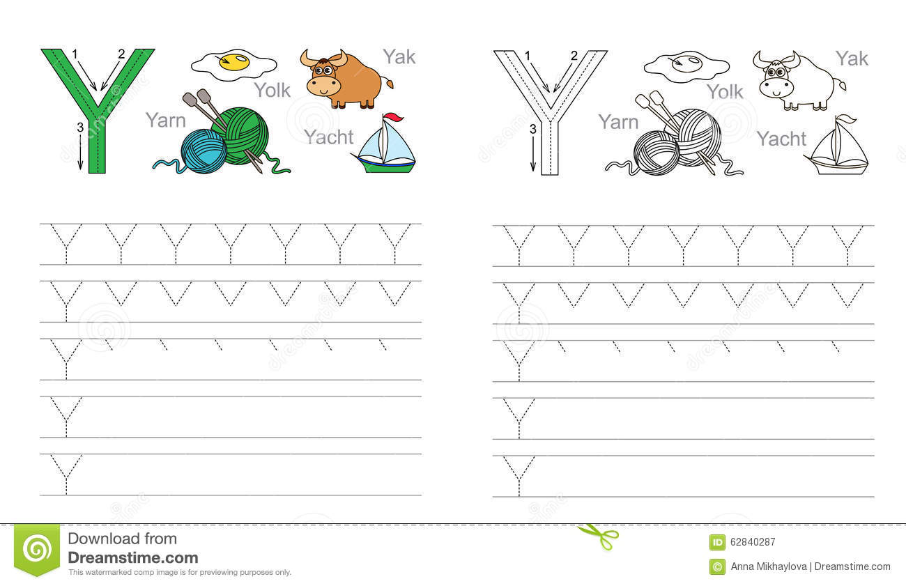 Tracing Worksheet For Letter Y Stock Vector