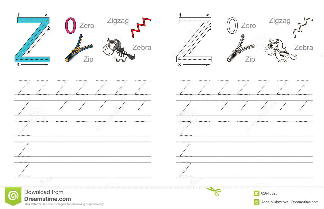 Tracing Worksheet For Letter Z Stock Vector
