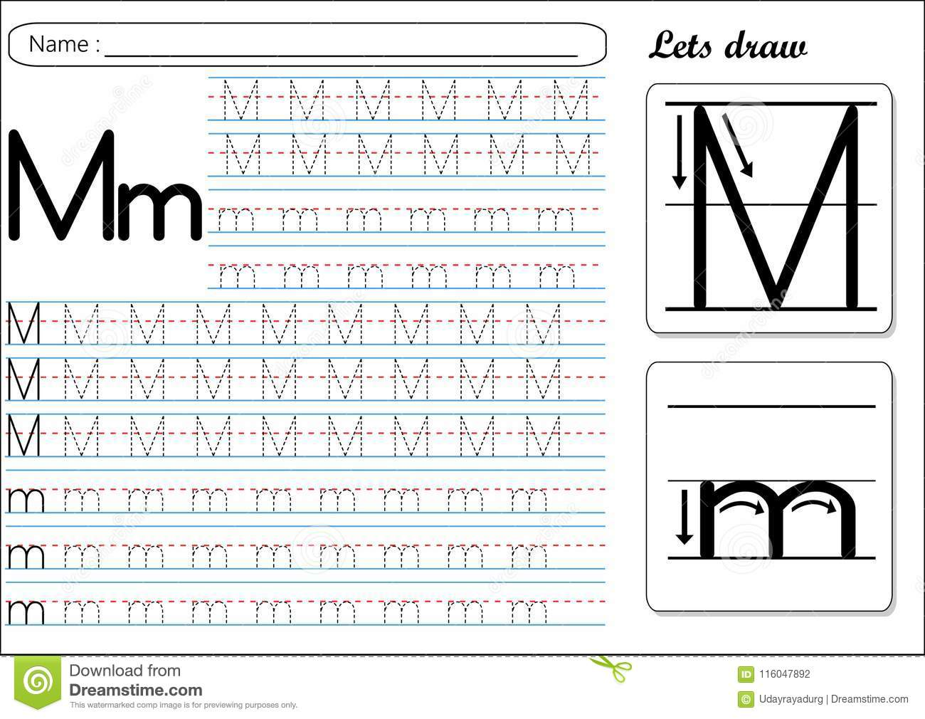 Tracing Worksheet Mm Stock Vector Illustration Of Kids