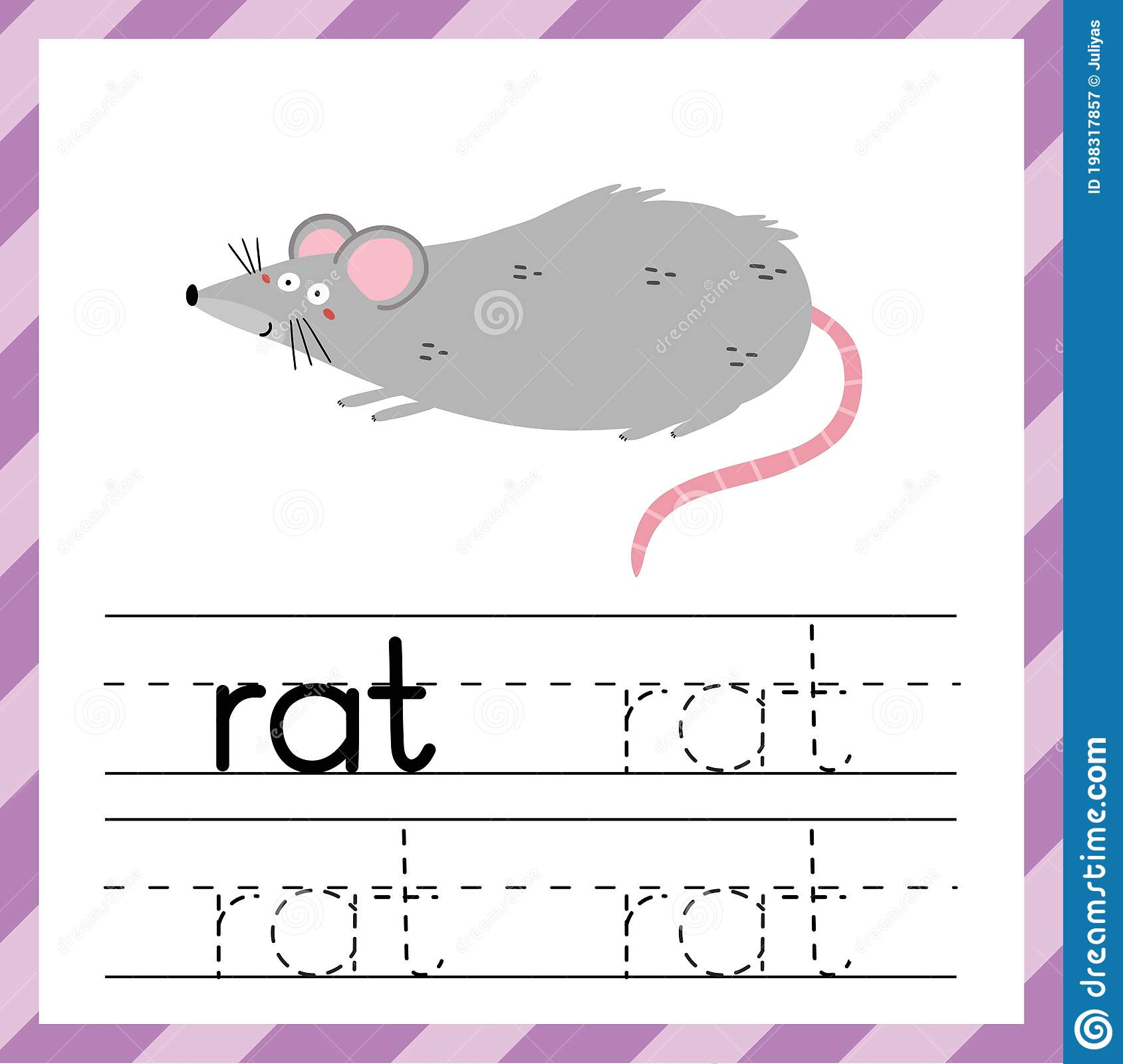Tracing Worksheet With Word Rat Learning Material For