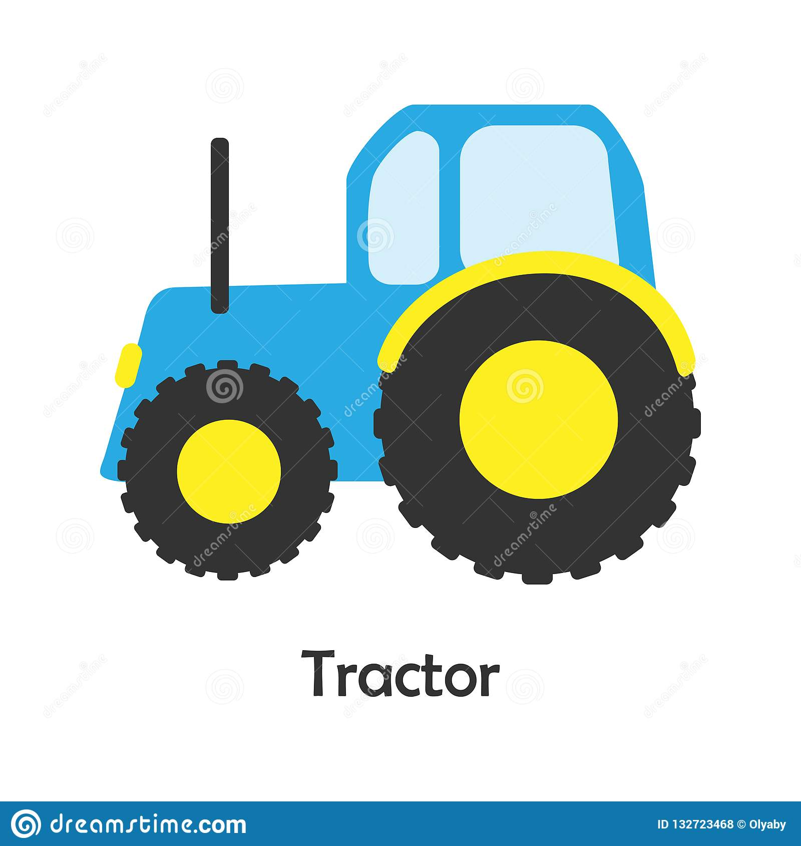 Tractor In Cartoon Style Card With Transport For Kid