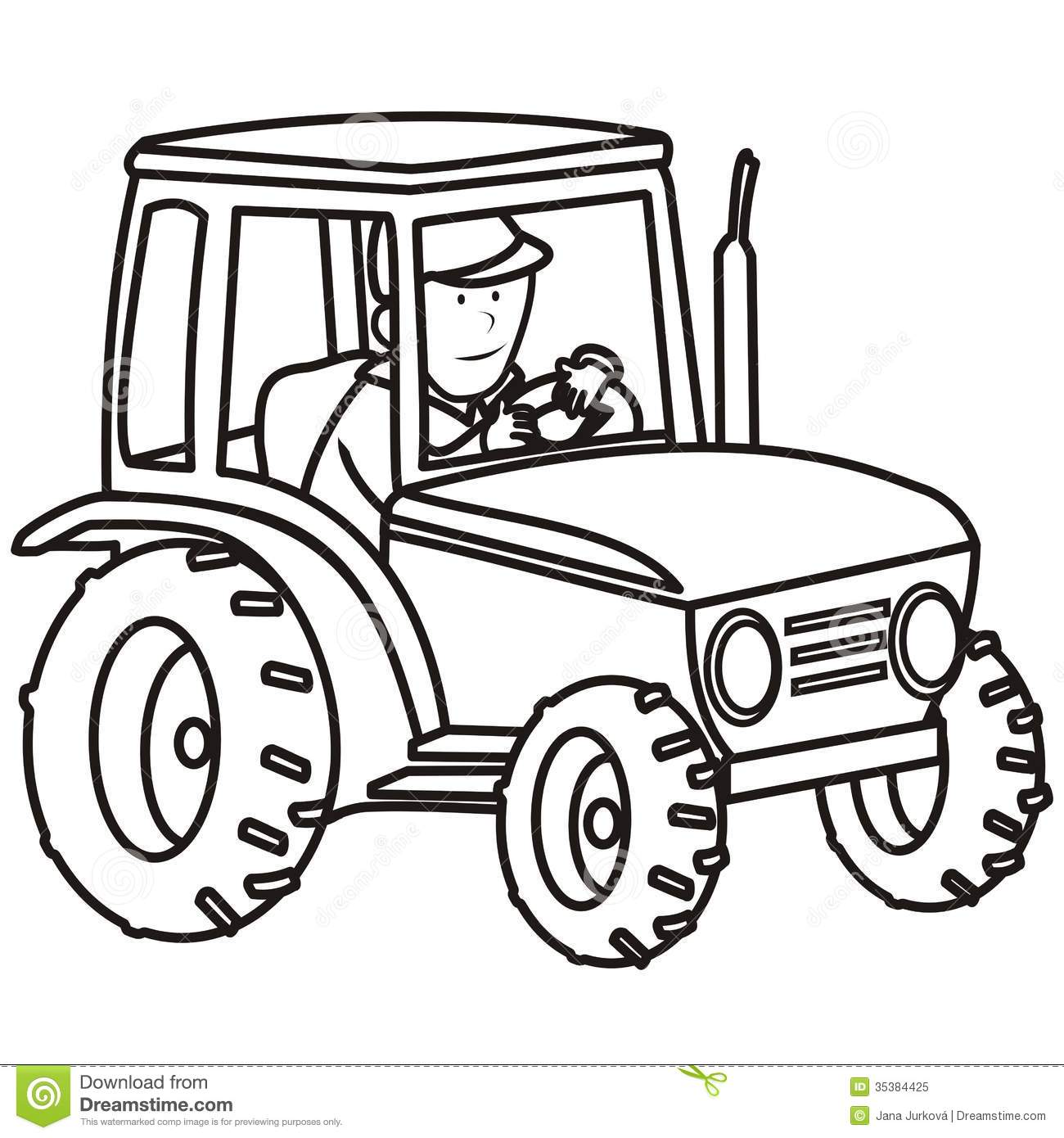 Tractor Coloring Book Stock Vector Illustration Of