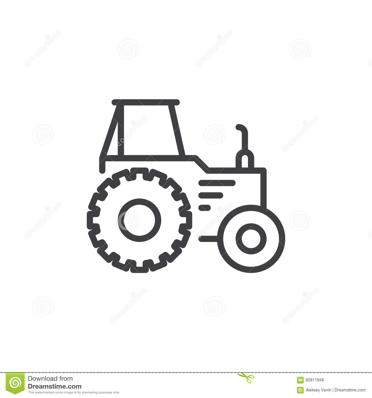 Tractor In A Field Flat Line Icon Cartoon Vector