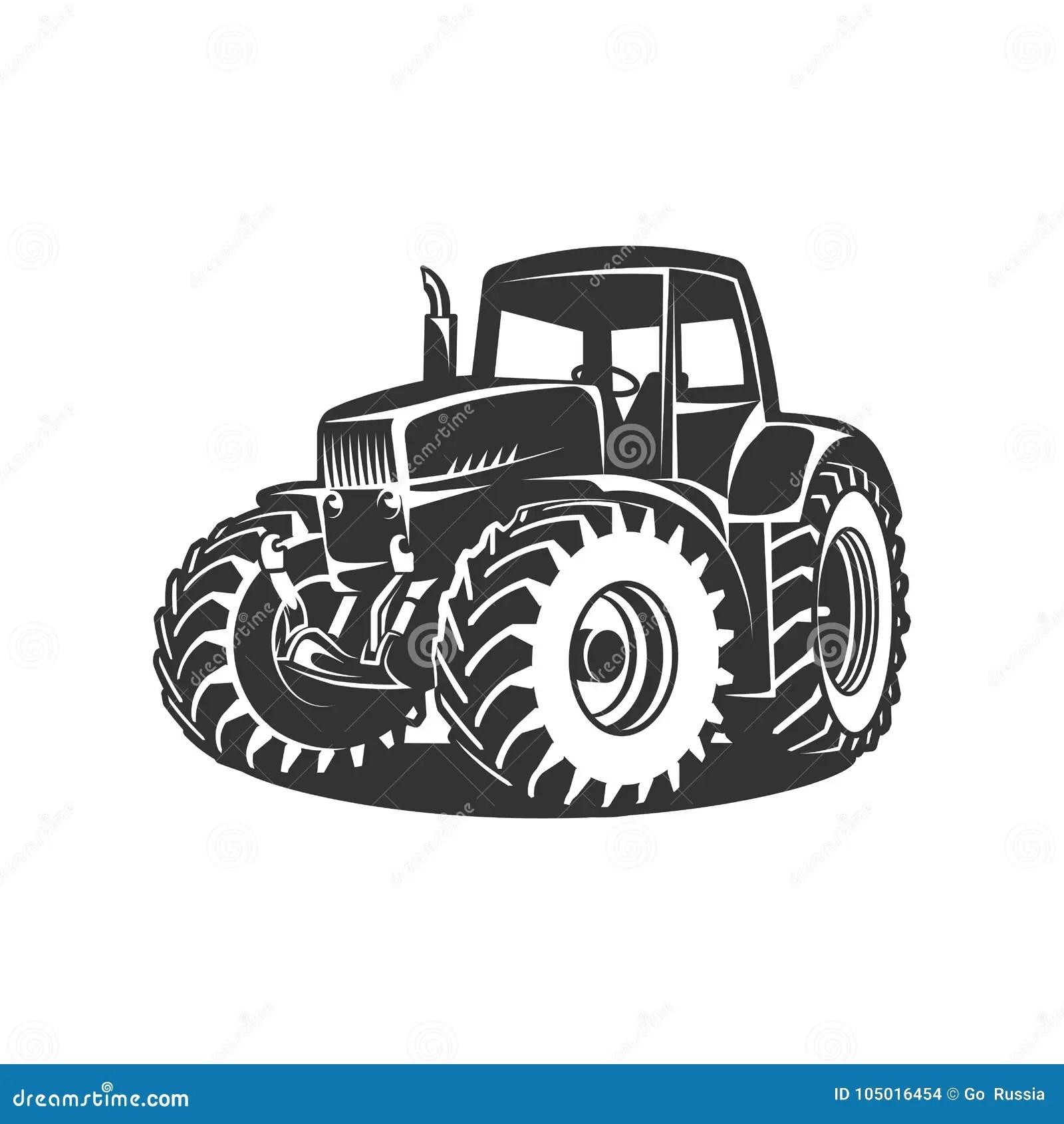 Tractor Negro En El Fondo Blanco Ilustracion Del Vector