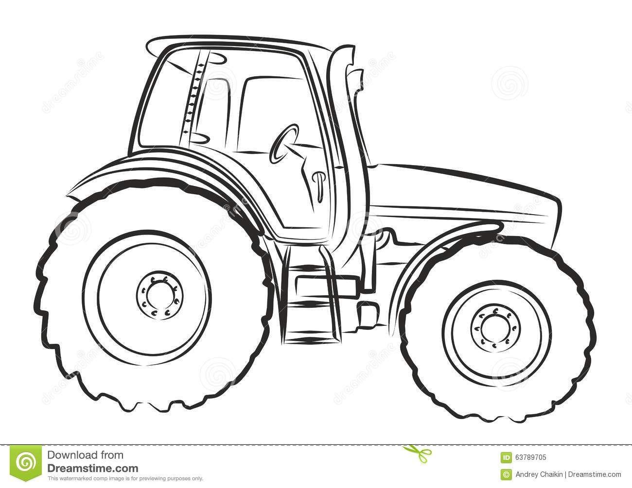 Tractor Sketch Stock Vector Illustration Of Rural