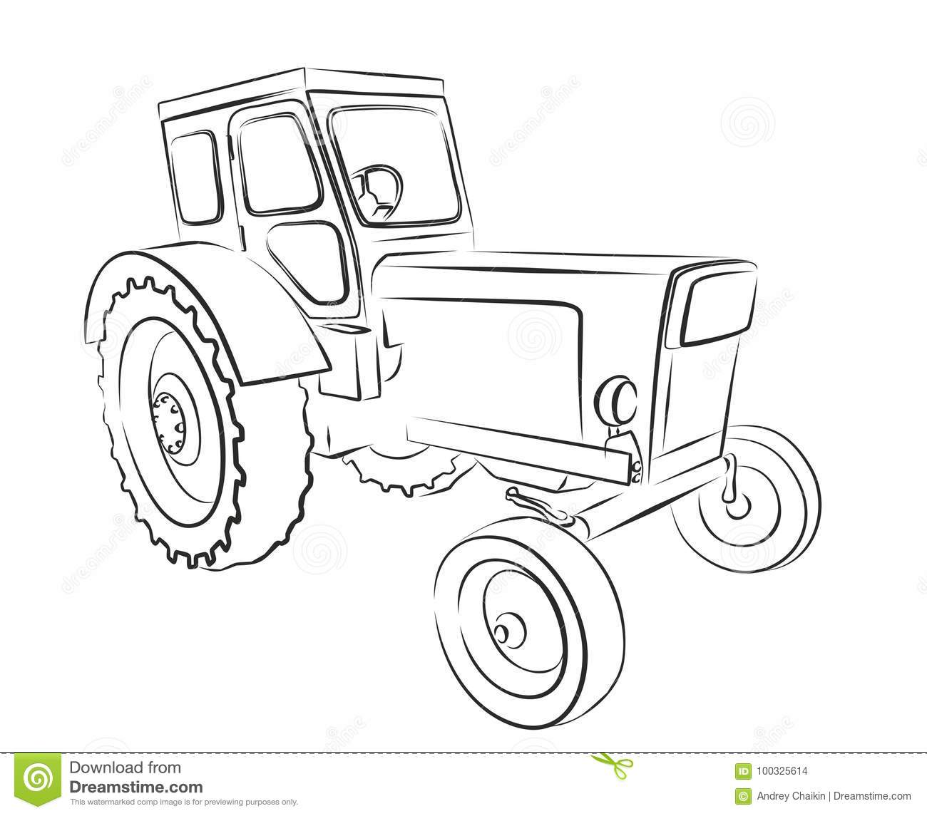 Tractor Sketch Stock Vector Image Of Tractorn Tractor