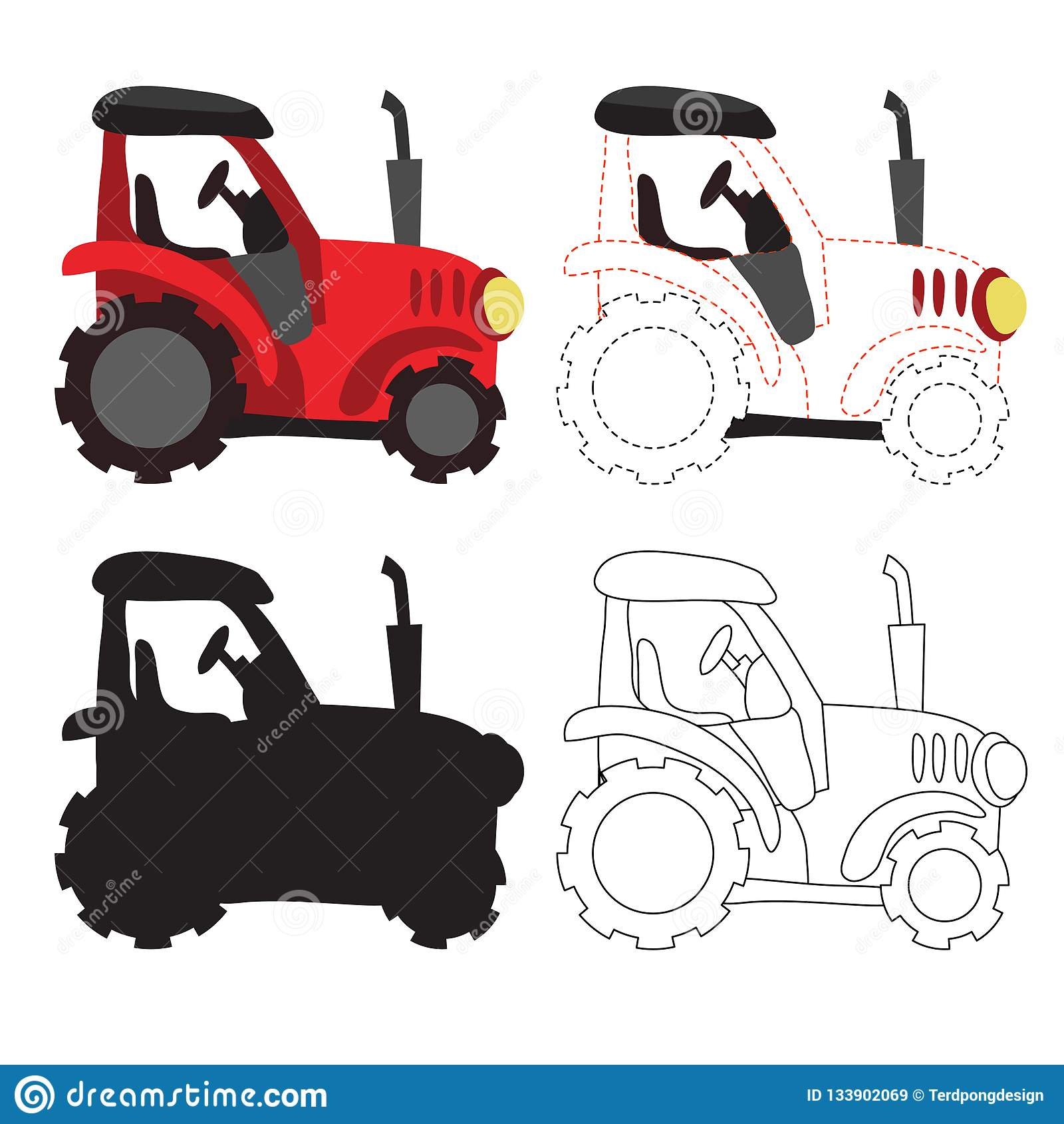 Coloring Tractor Cartoon Cartoon Vector