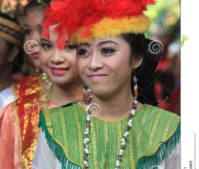 Teen Dressed In Traditional Clothes From Different Areas In The City Of Solo Central Java Indonesia