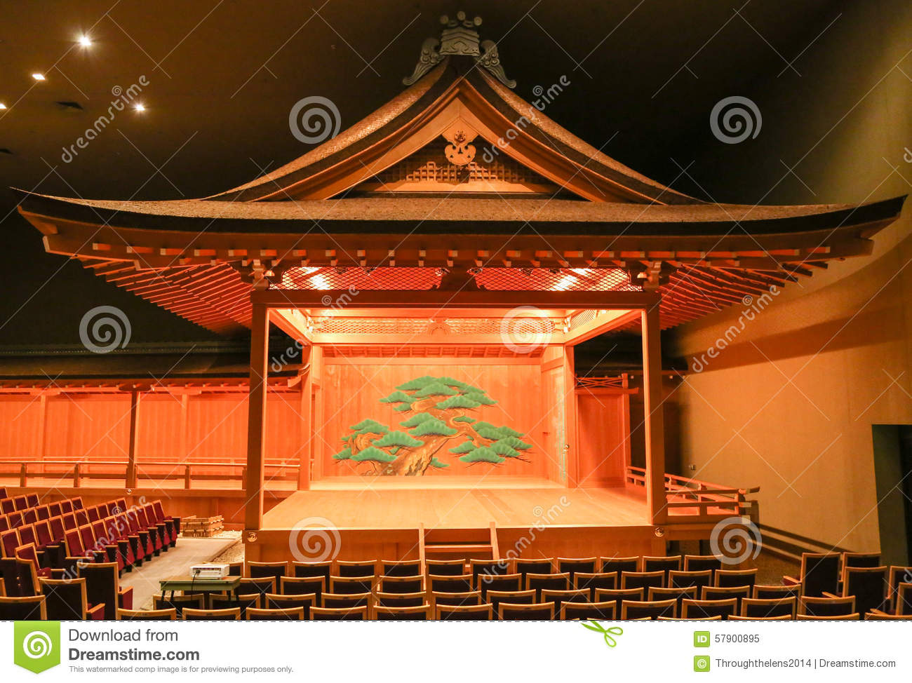 Traditional Japanese Kabuki Noh Theatre Stage With