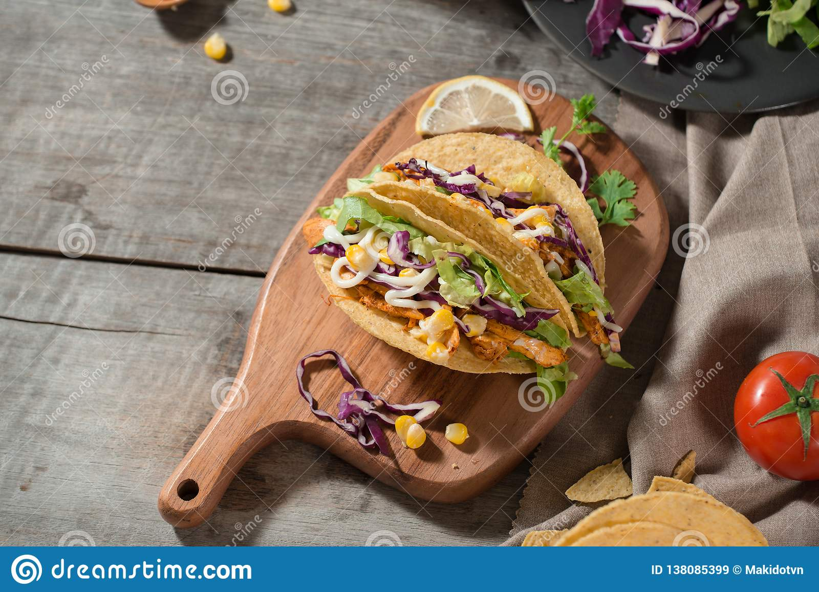Traditional Mexican Taco With Chicken And Vegetables On
