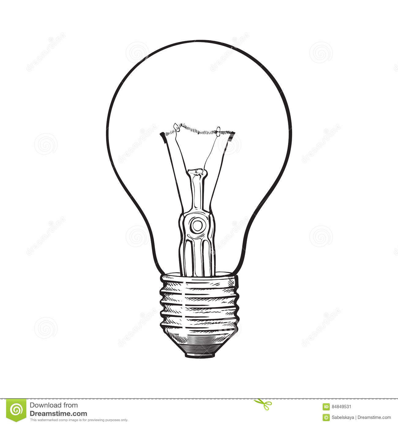 Traditional Transparent Tungsten Light Bulb Side View