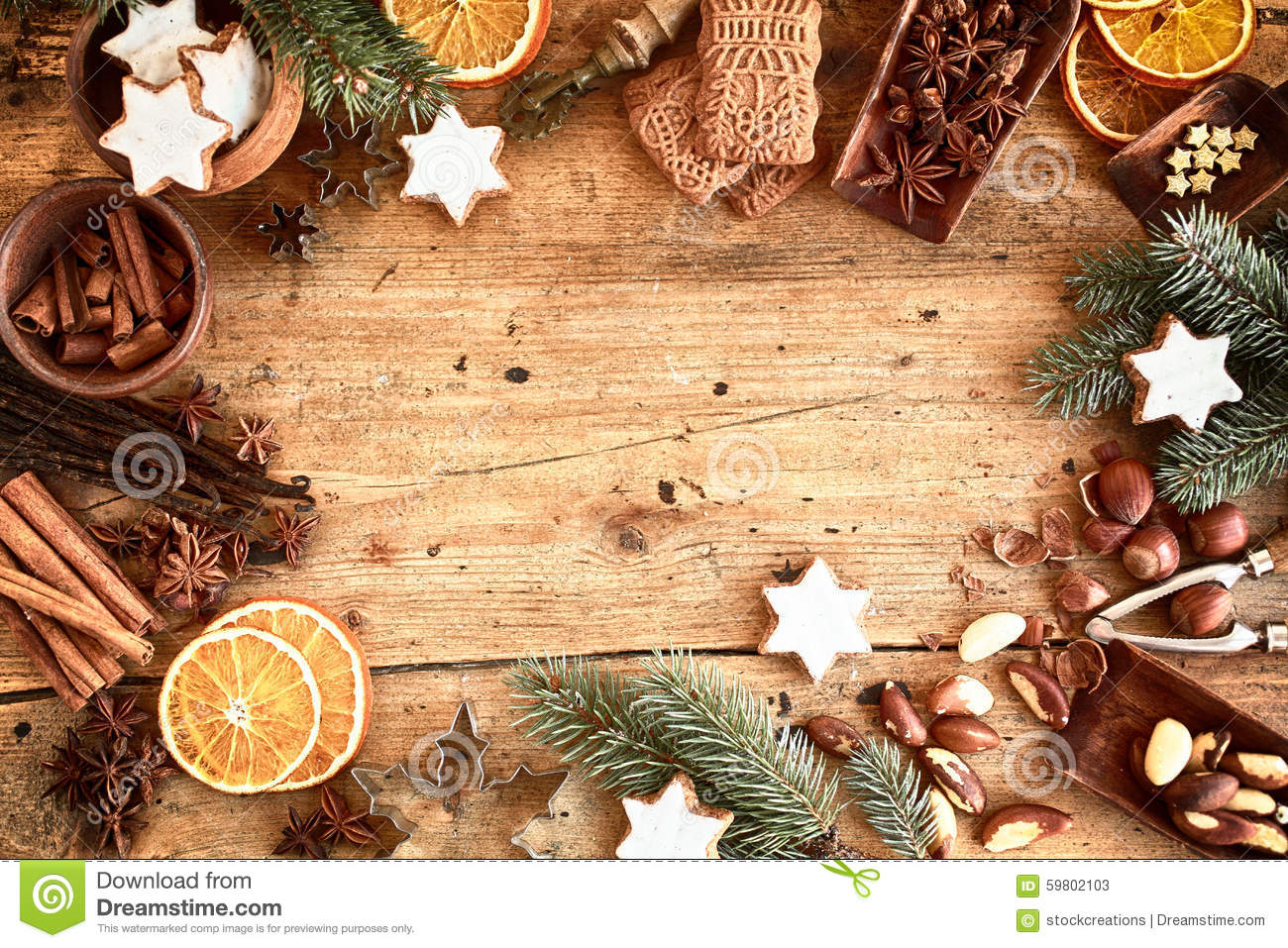 Traditional Xmas Frame With Spices And Nuts Stock Image
