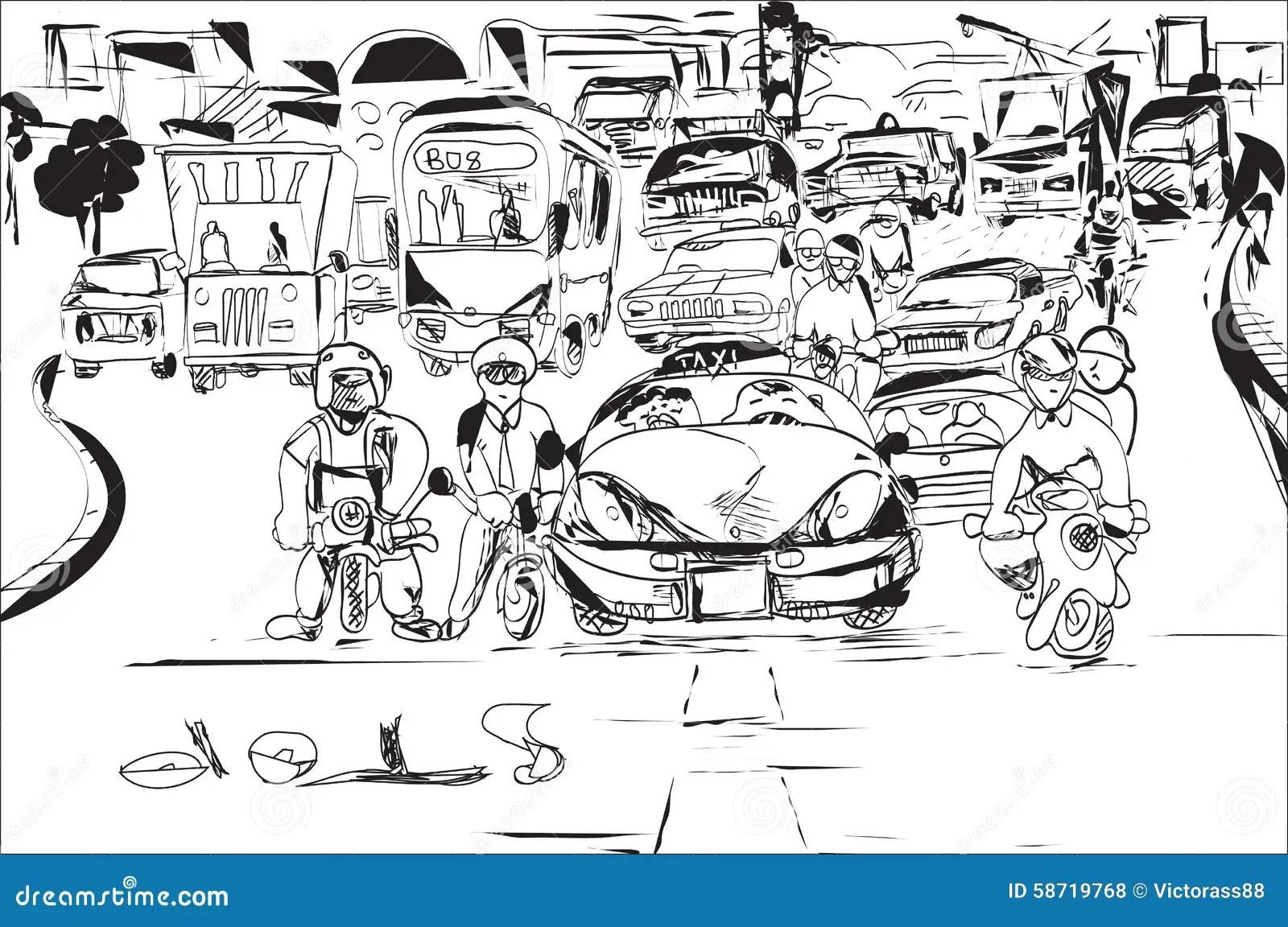 Traffic Jam Stock Vector Illustration Of Haste