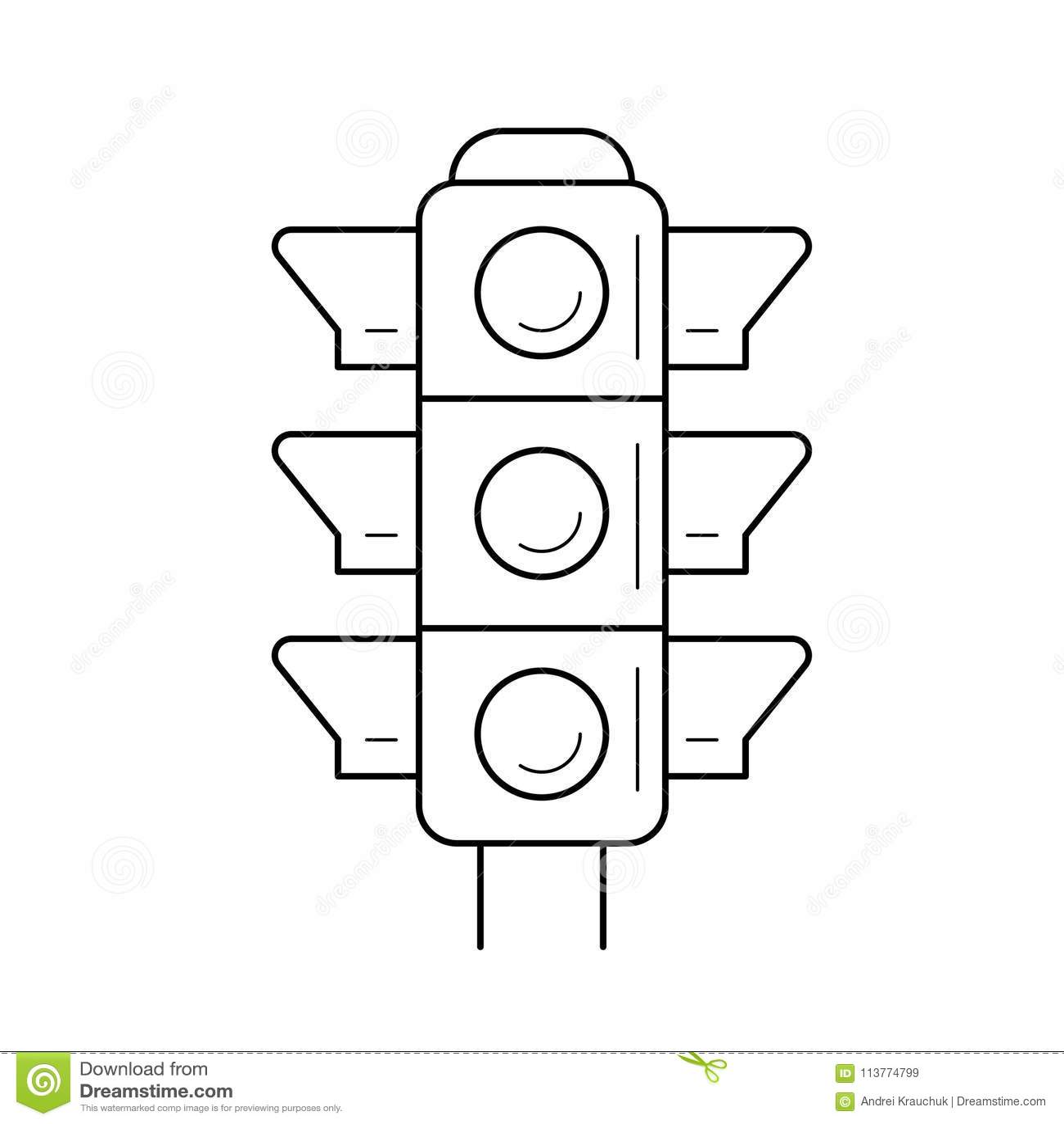 Traffic Light Line Icon Stock Vector Illustration Of