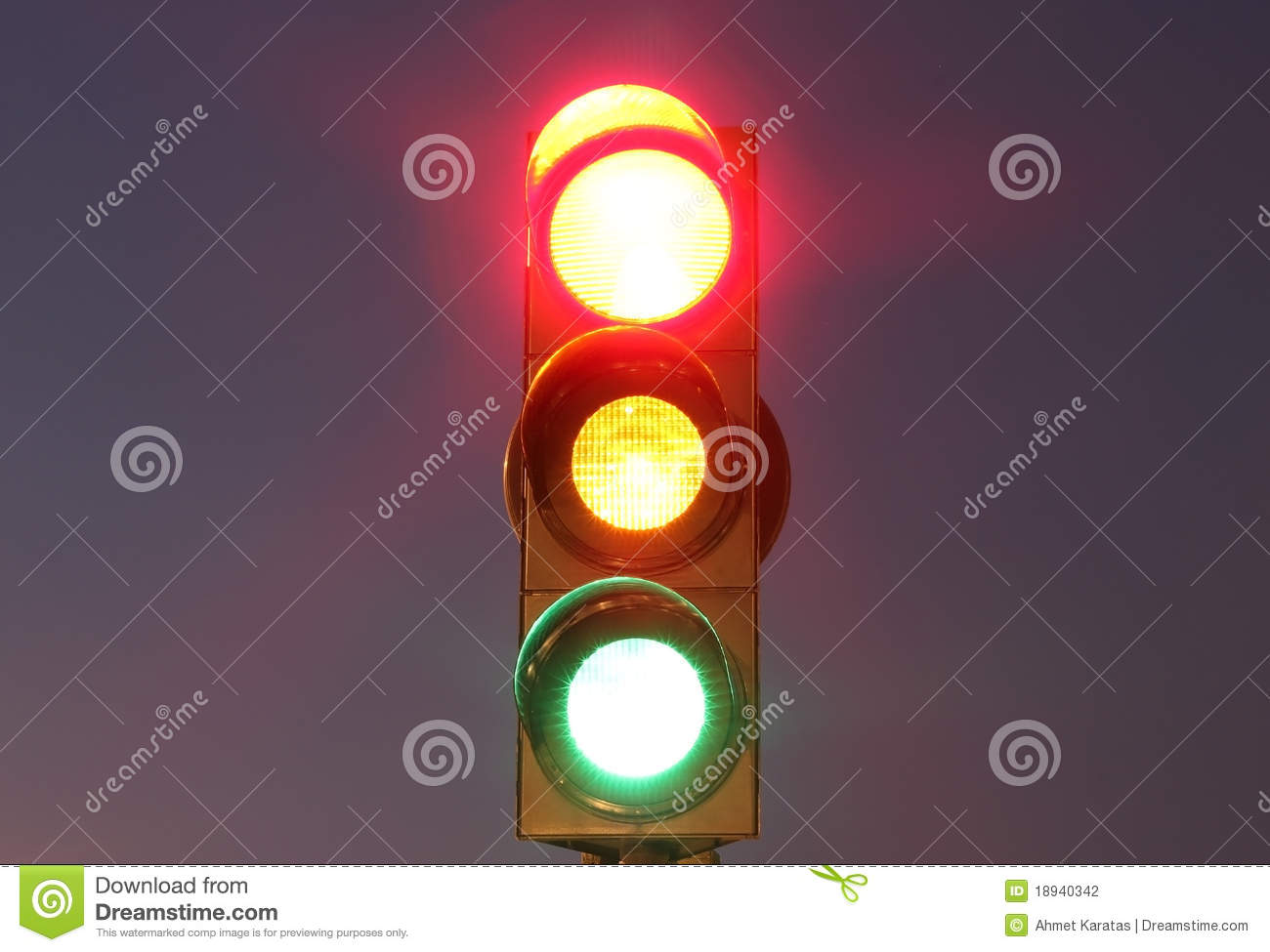 Traffic Lights With Red Yellow And Green Lights Stock
