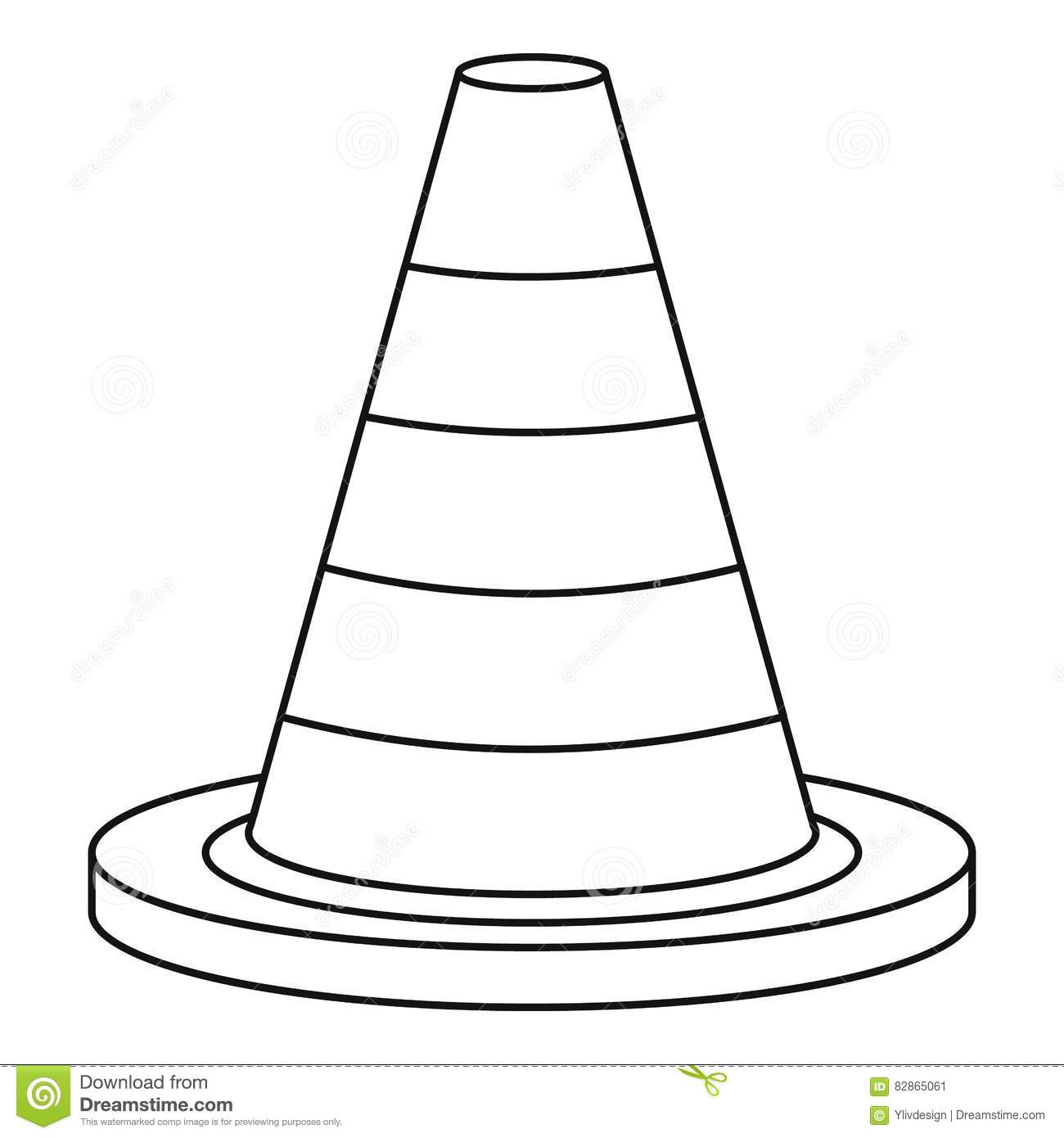 Traffic Safety Cone Icon Outline Style Stock Vector