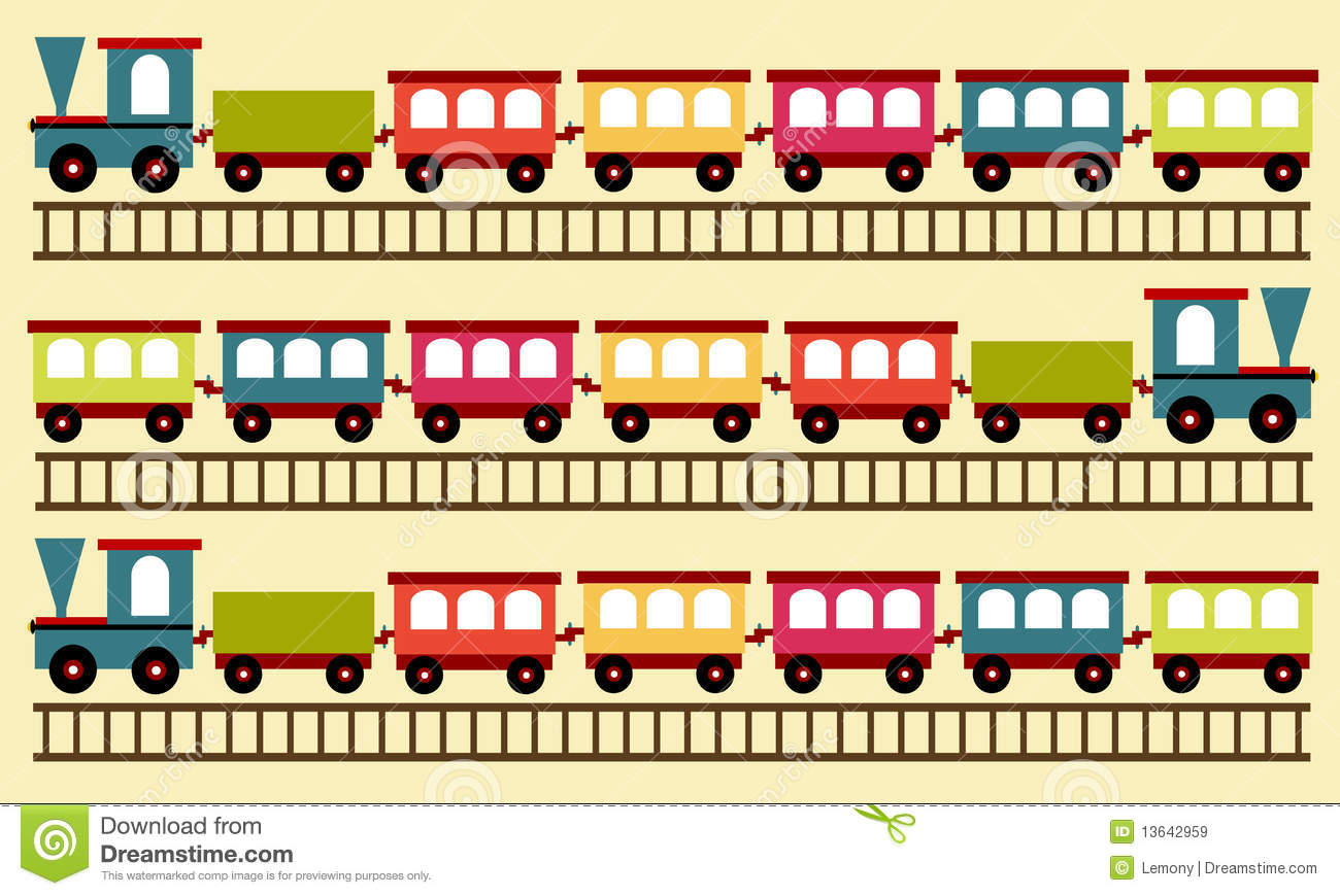 Train Pattern Wallpaper Stock Vector Illustration Of