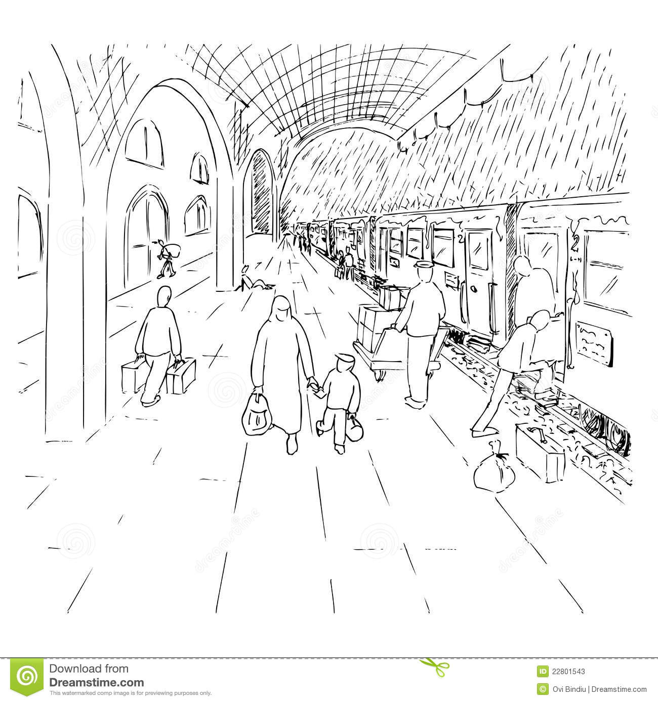 A Train The Station And The Rain Stock Illustration