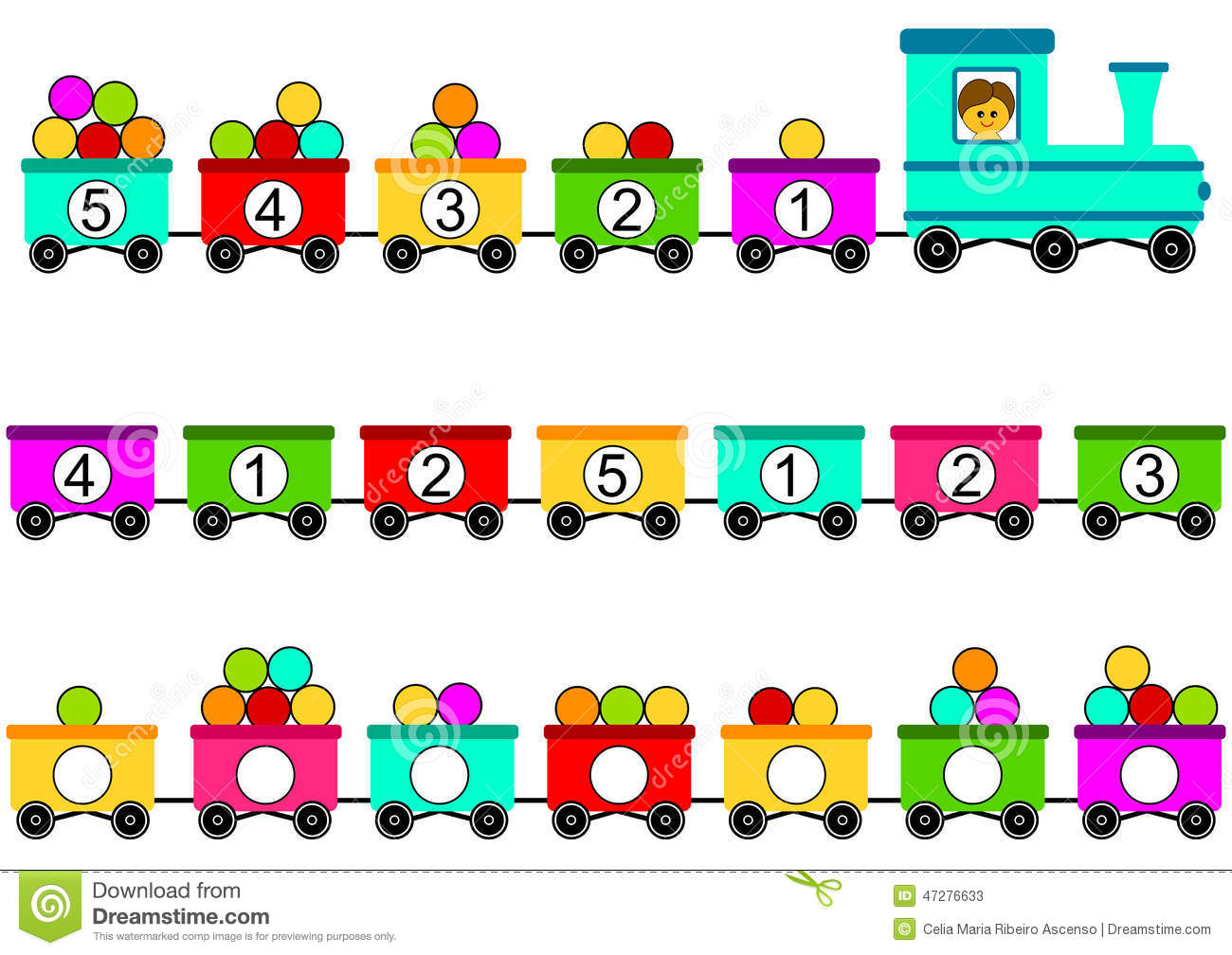 Train Toy Math Counting Game Stock Illustration