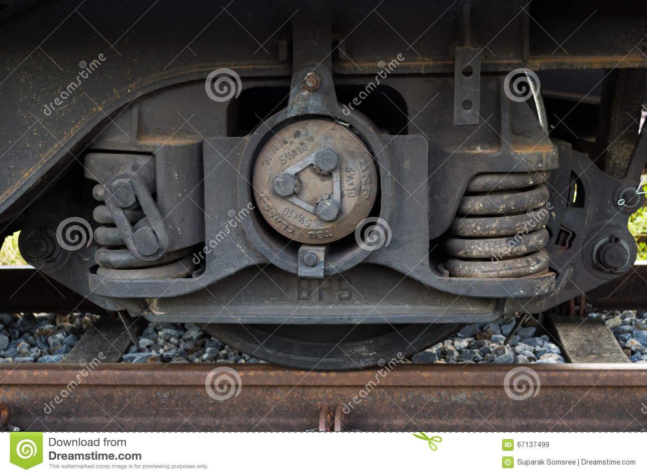 Train Wheel Track With Suspension And Break System Stock
