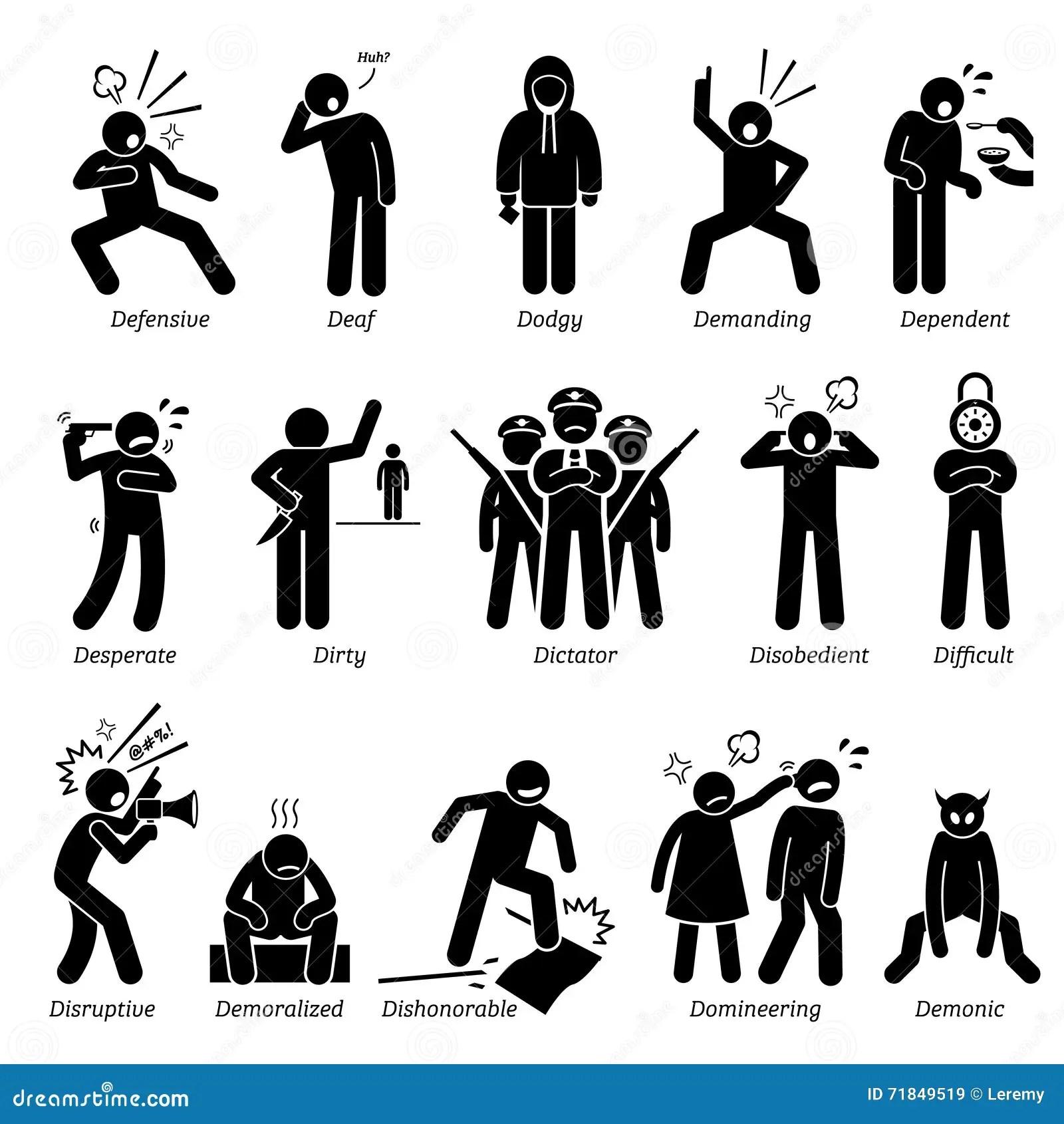 Traits De Caractere Negatifs De Personnalites Clipart