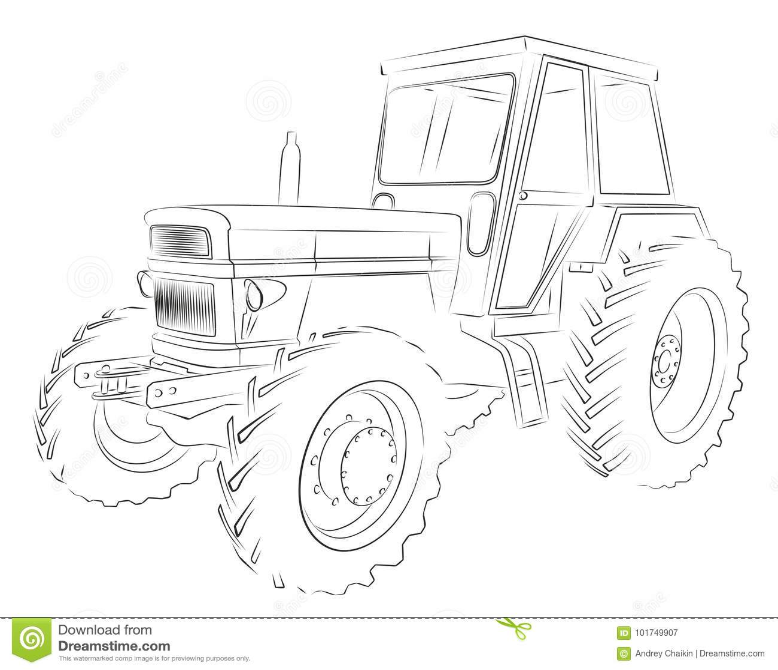 Traktor Skizze Vektor Abbildung Illustration Von Skizze