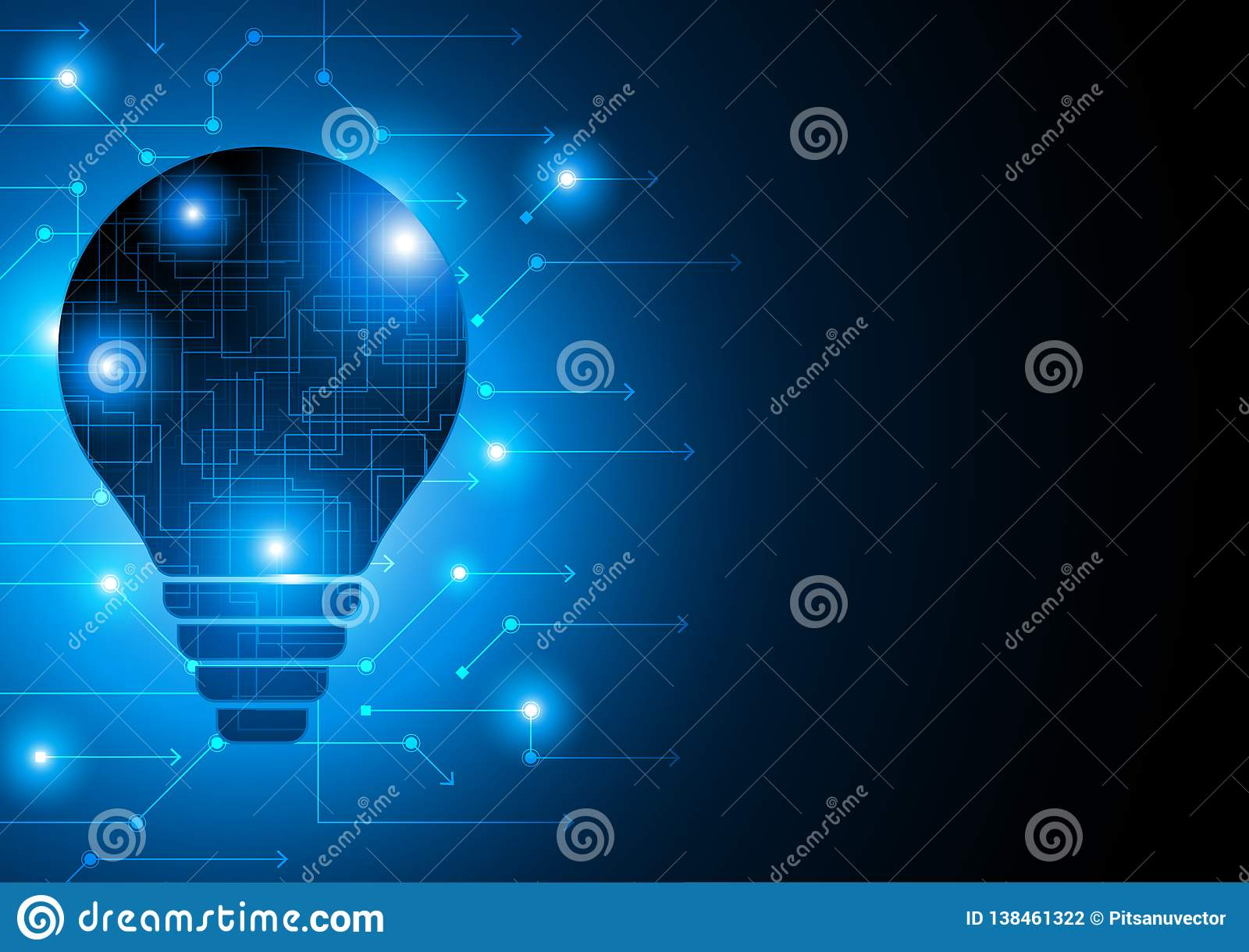 Transparent Bulb With Small Lights And Circuit Board On