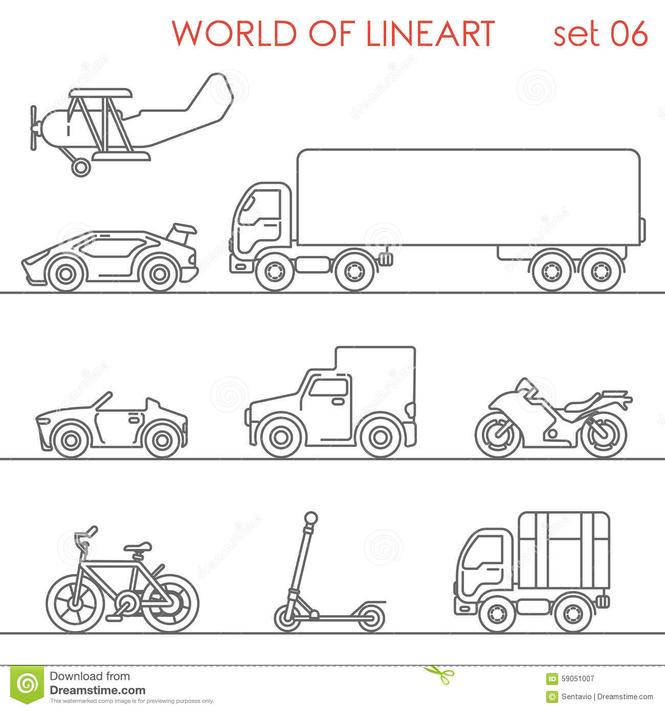 Transport Aerial Road Moto Graphical Lineart Hipster Set