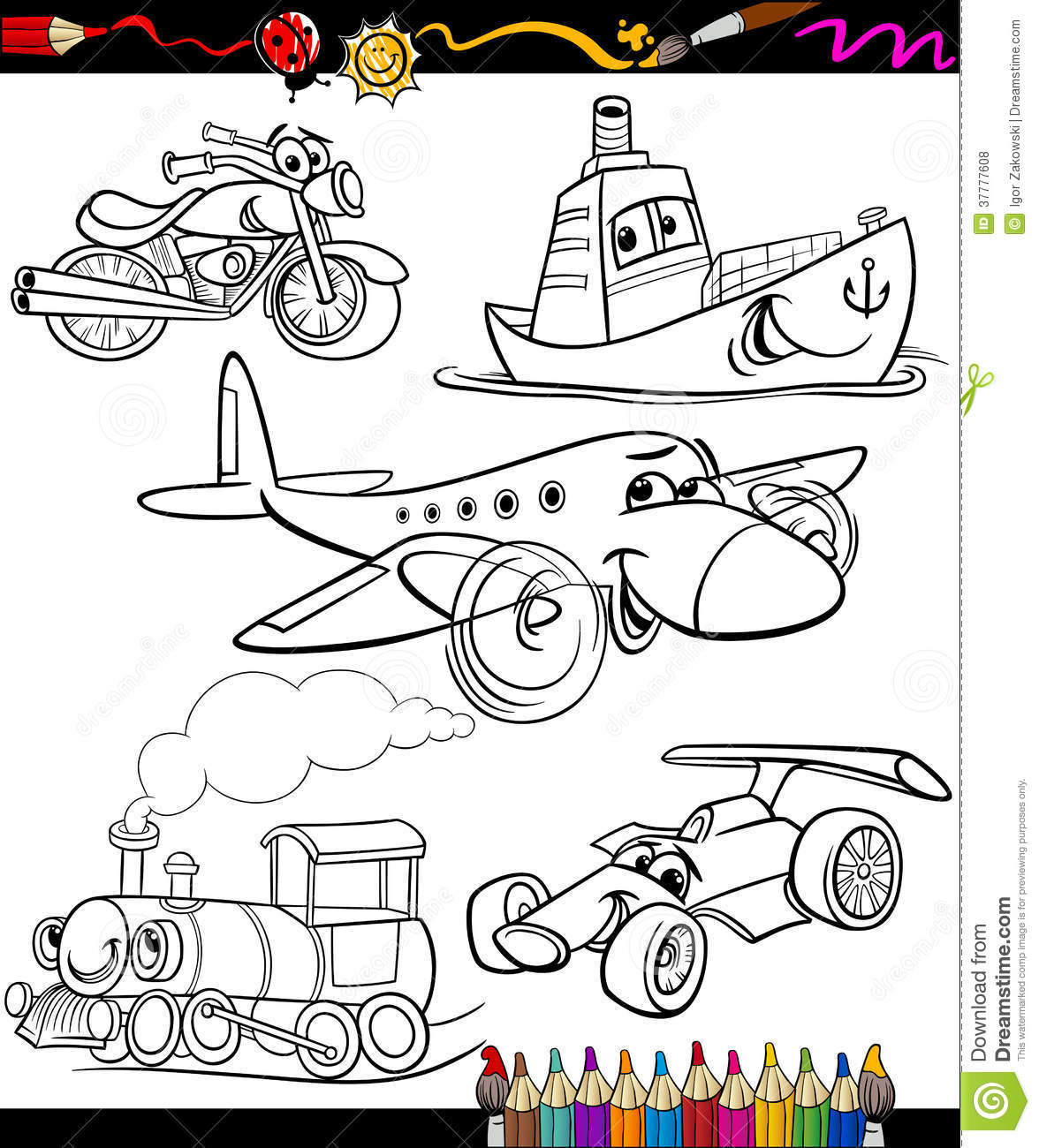 transport set for coloring book royalty free stock photos image