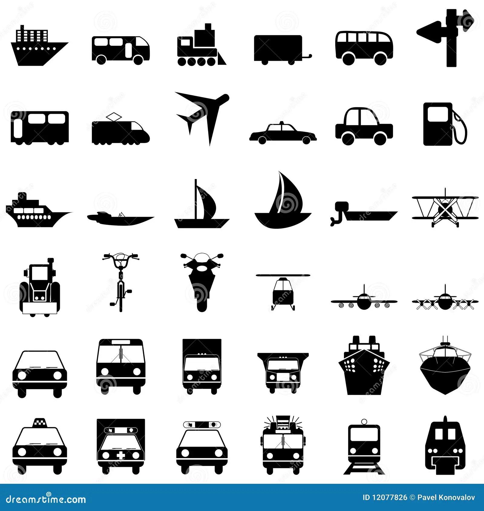 Transportation Icons Set Stock Vector Illustration Of