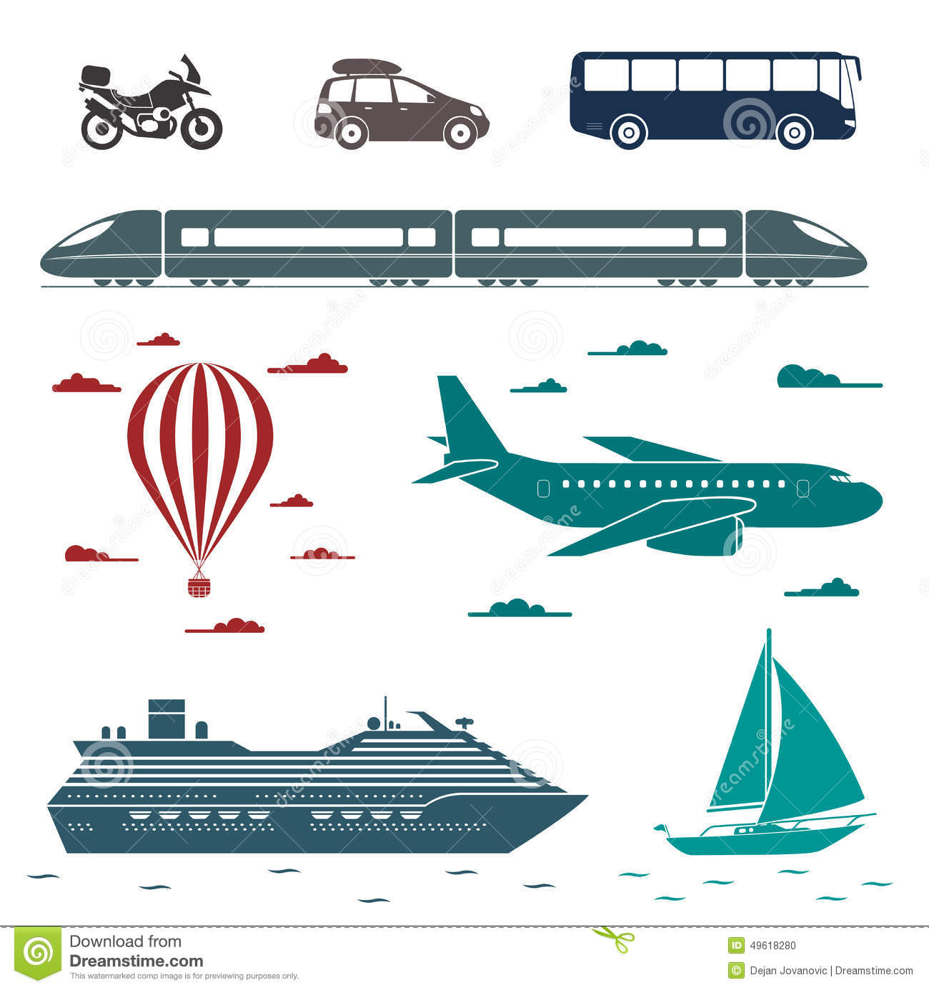 Transportation Icons Vector Set Of Different Means Of