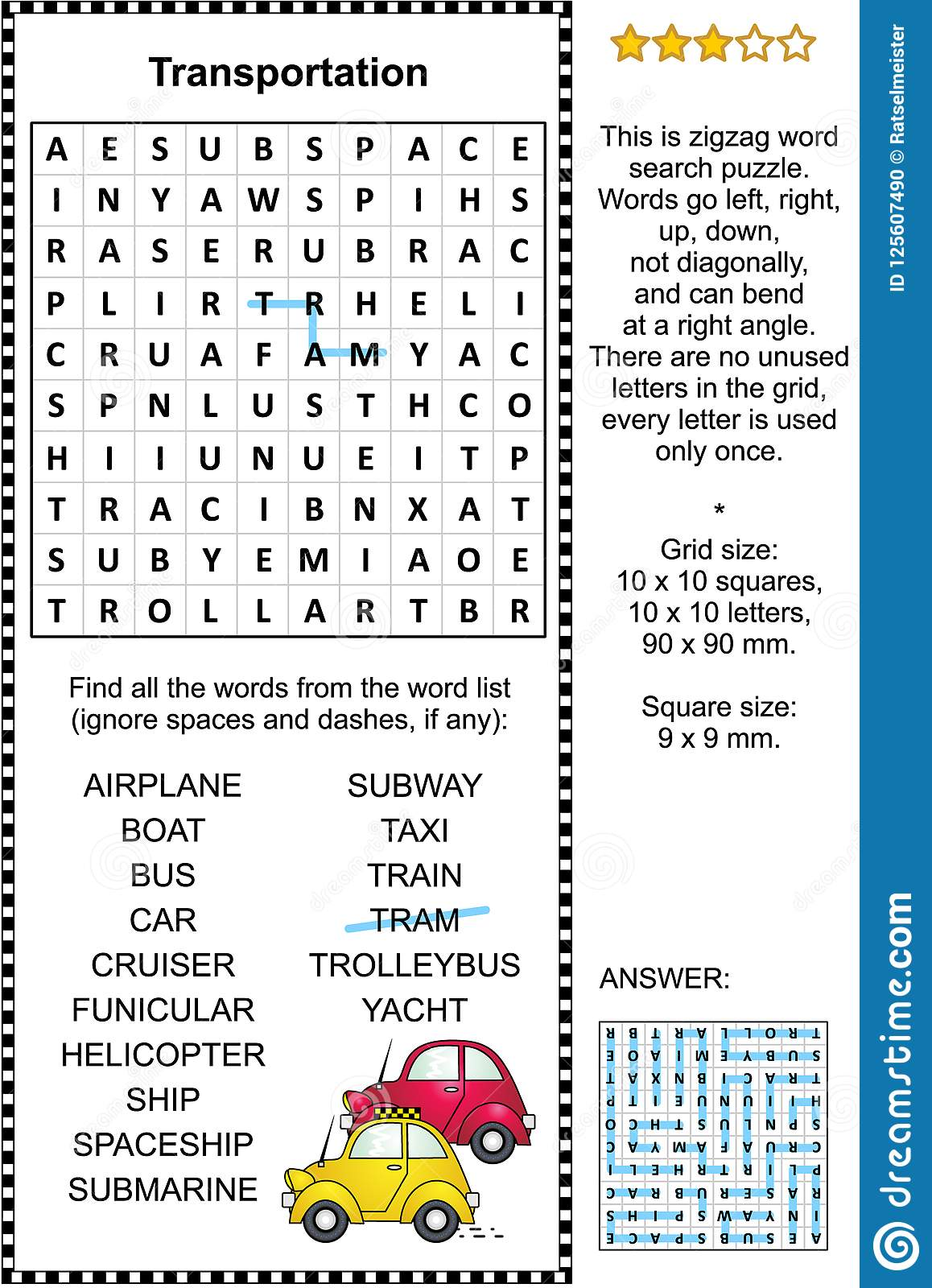Transportation Word Search Puzzle Stock Vector