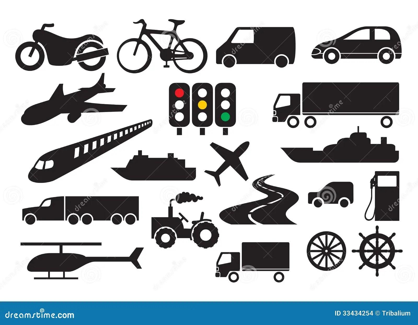 Transportikonensatz Stockbilder