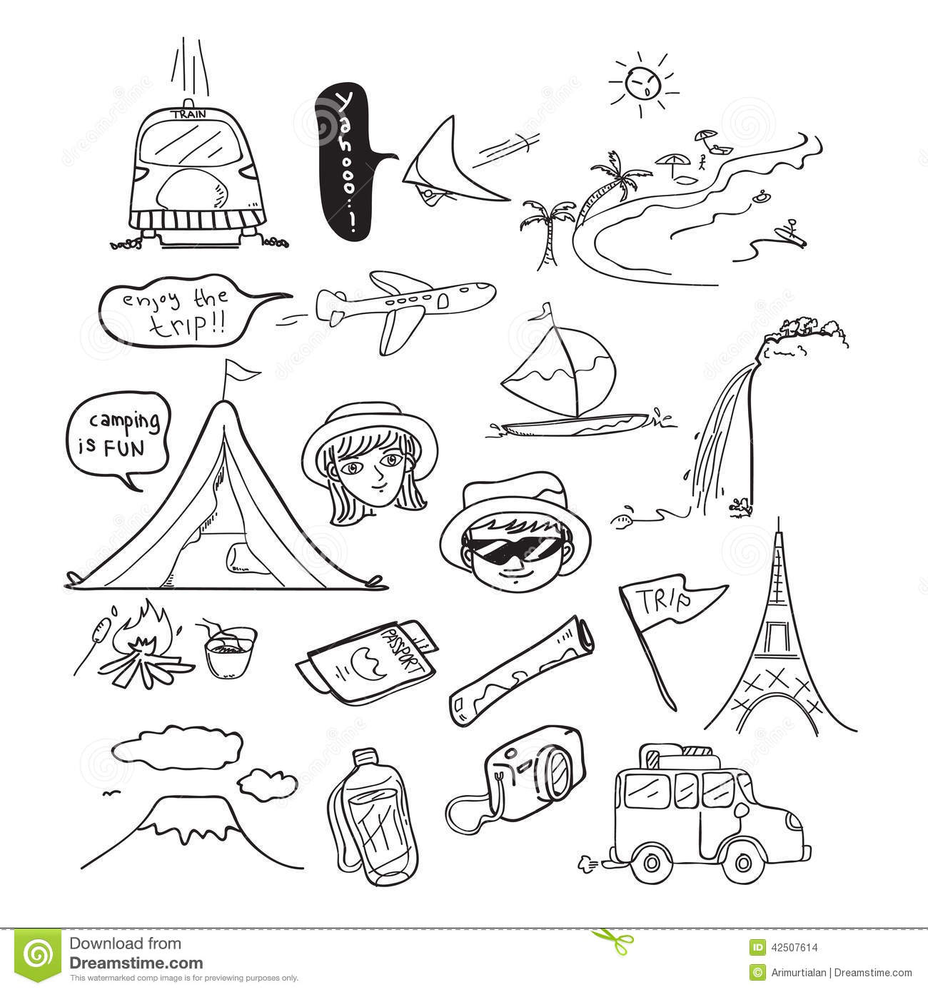Travel Doodle Drawing Stock Photo Image Of Forest