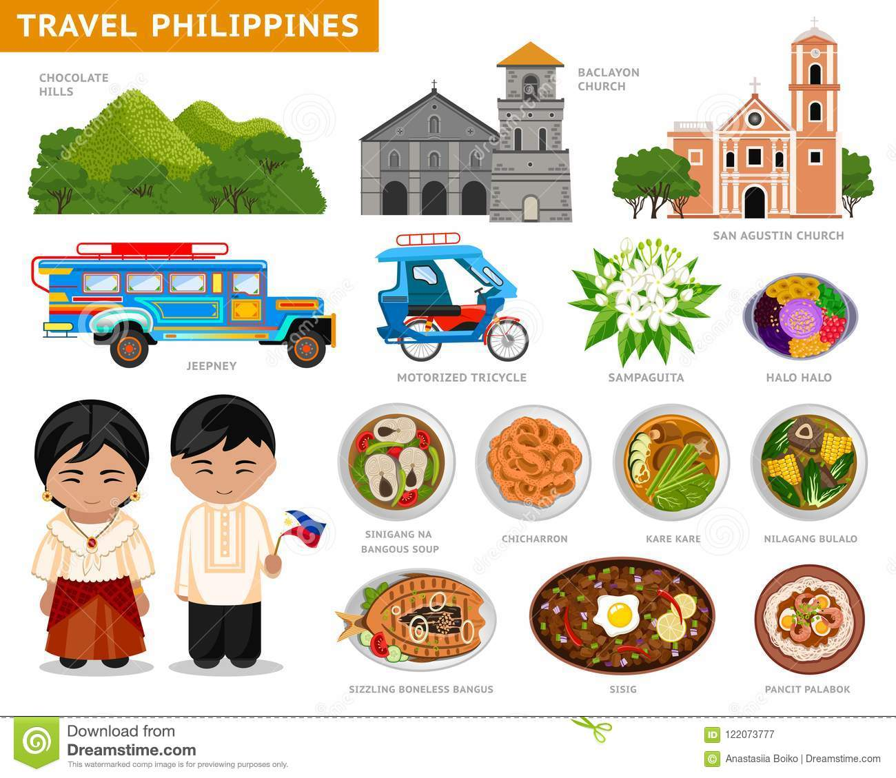 Travel To Philippines Filipinos In National Dress Stock